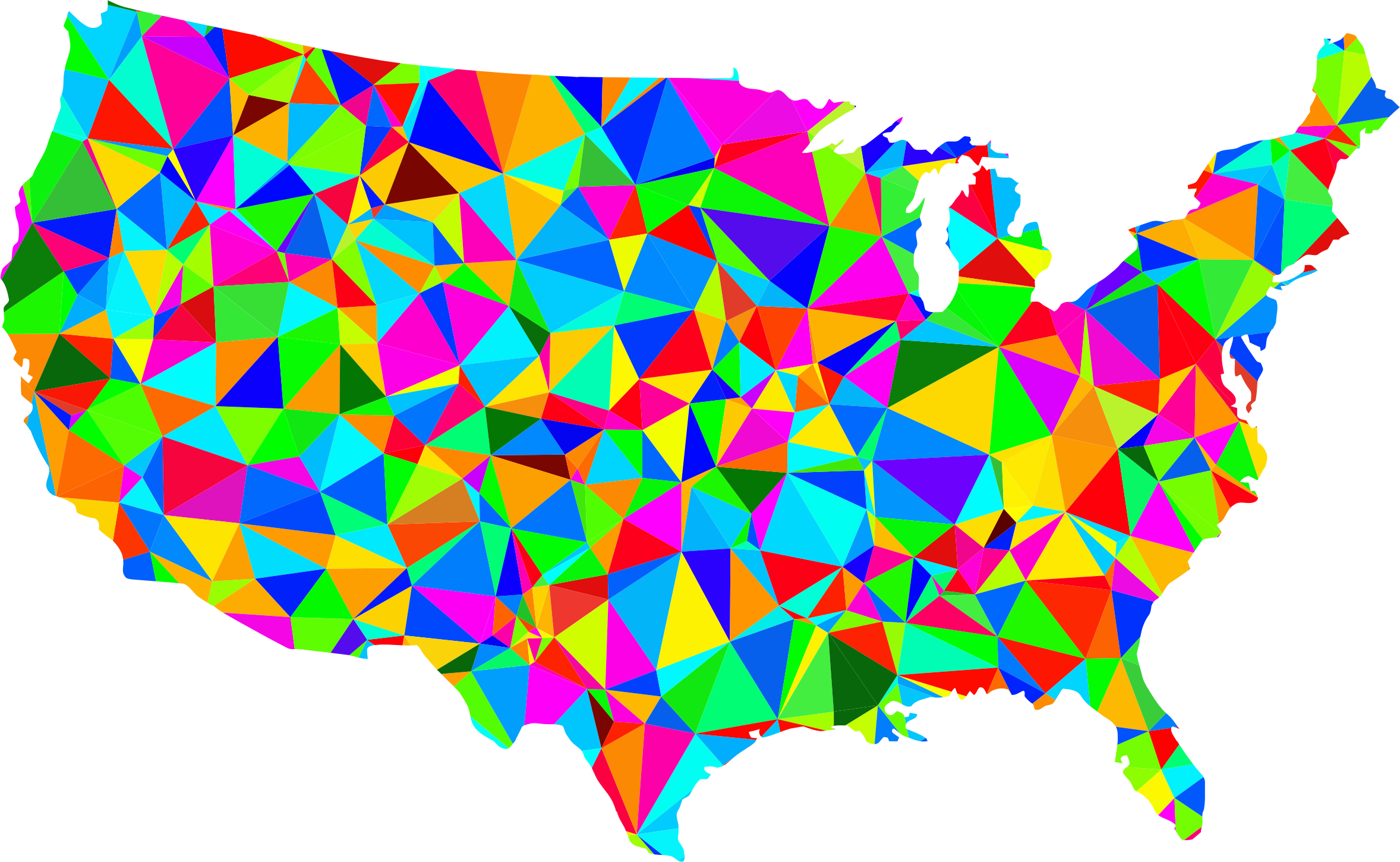 Flat Shaded Low Poly America USA Map by GDJ