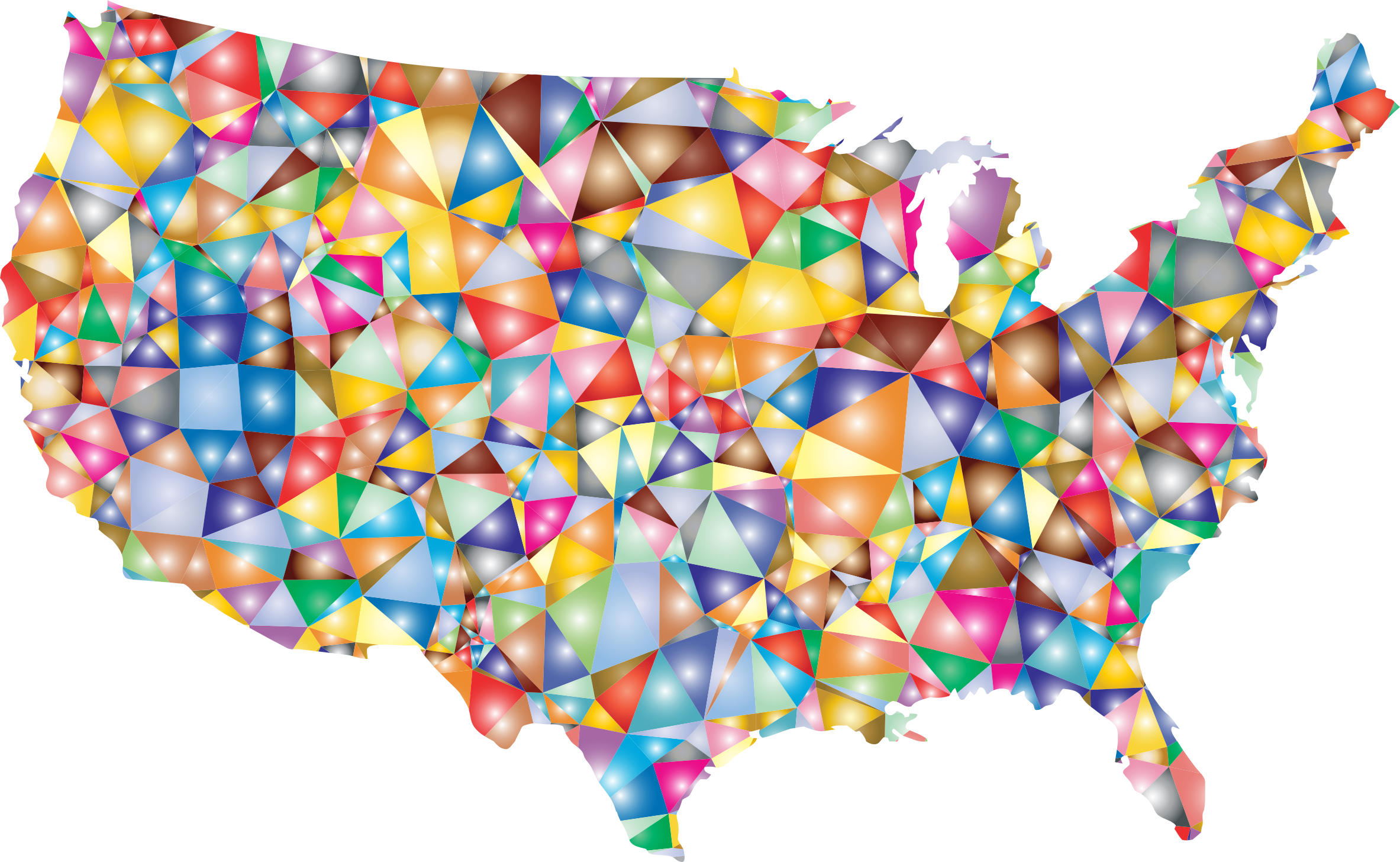 Clipart   Colorful Low Poly America USA Map
