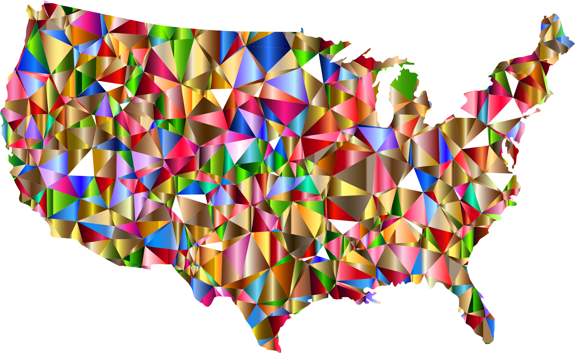 Vibrant Colorful Low Poly America USA Map by GDJ