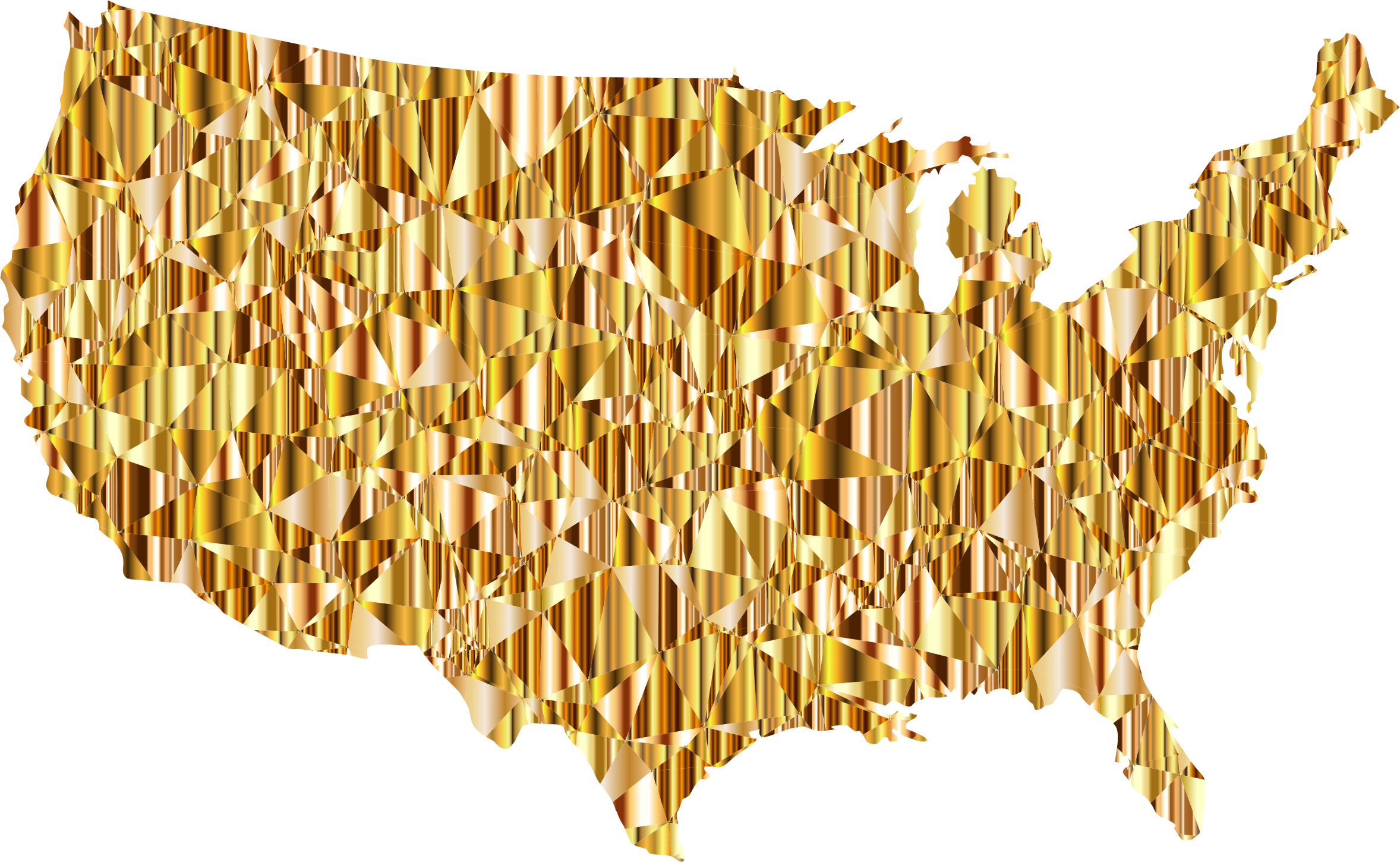 Gold Low Poly America USA Map by GDJ