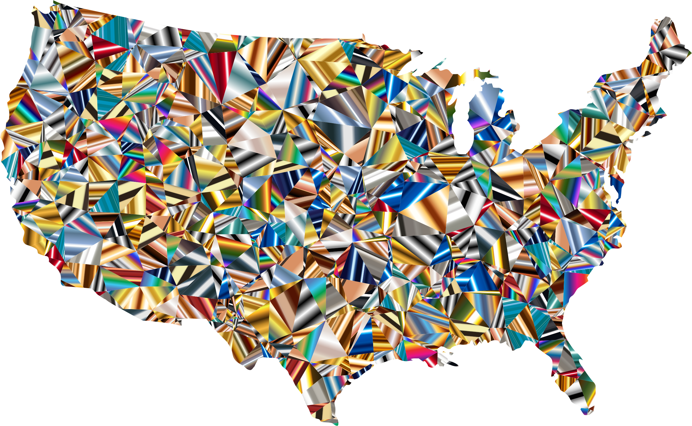 Psychedelic Low Poly America USA Map by GDJ