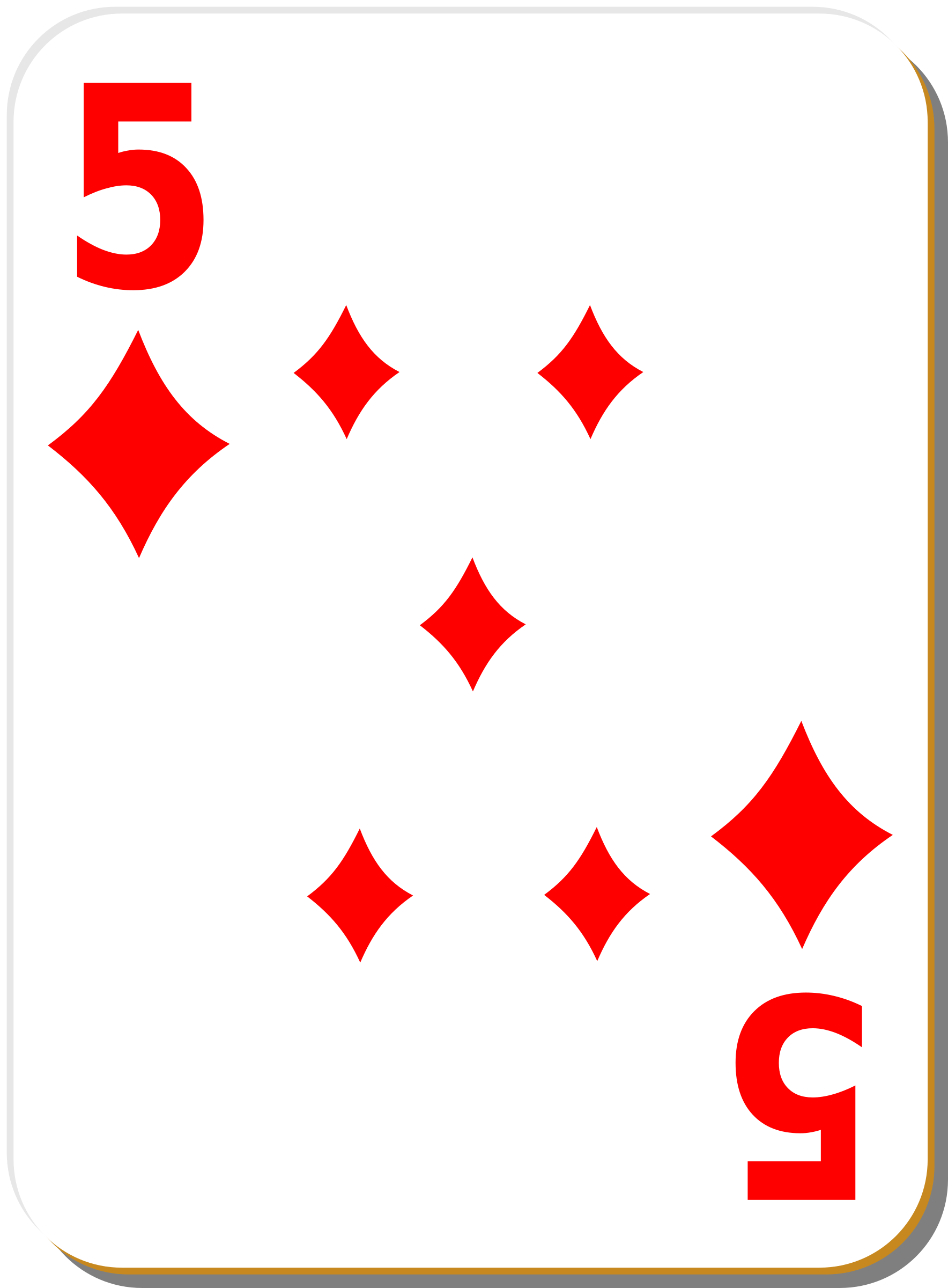 White deck: 5 of diamonds by nicubunu