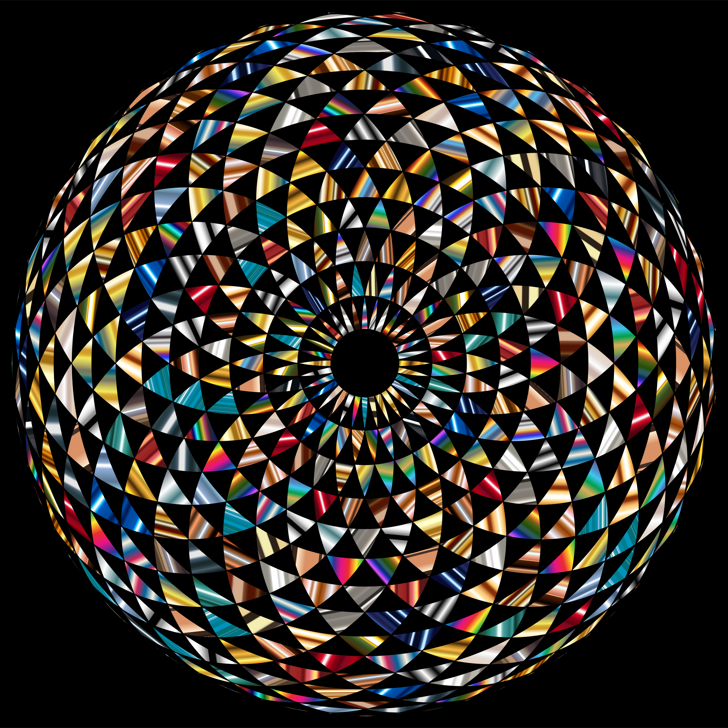 Clipart - Colorful Toroid Mandala 6 With Black Background