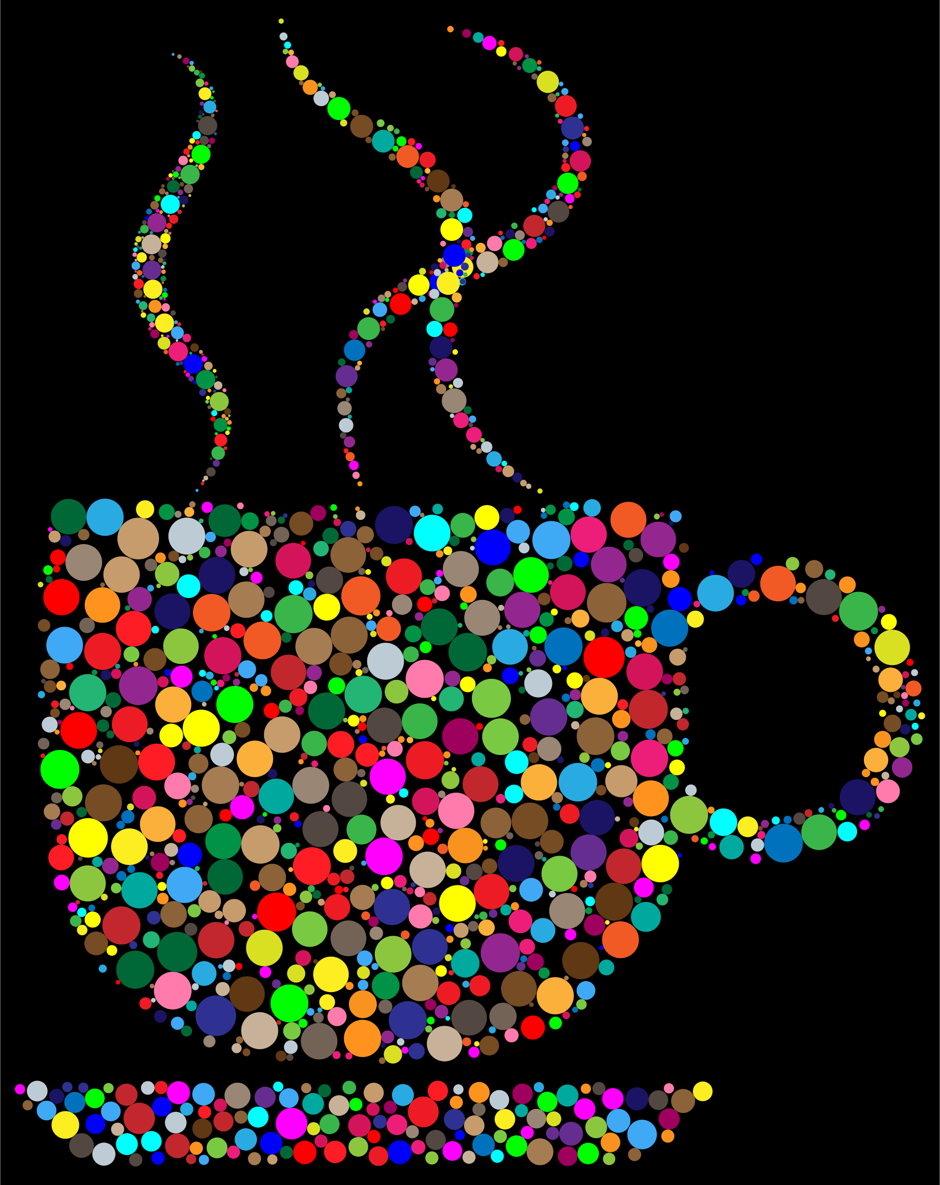 Colorful Coffee Circles With Black Background by GDJ