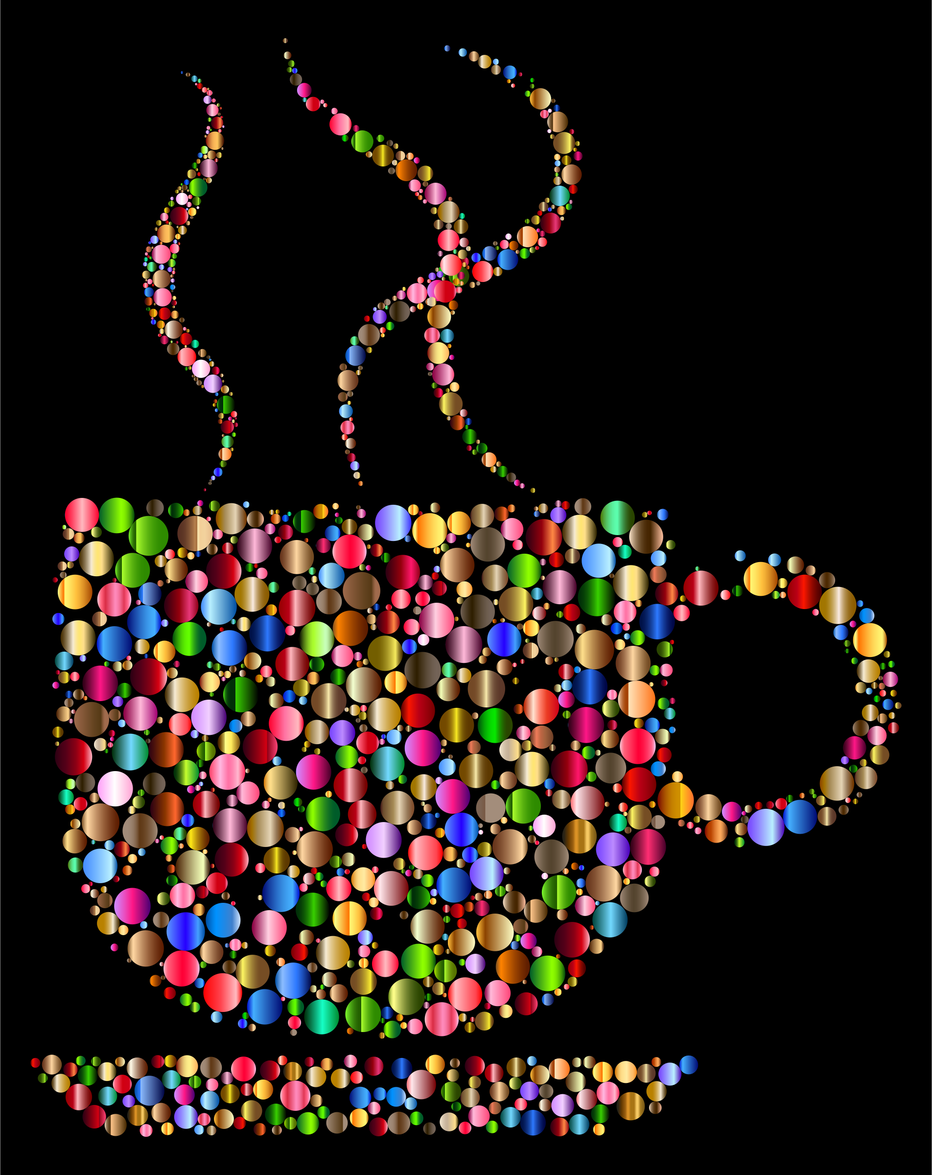 Colorful Coffee Circles 3 With Black Background by GDJ