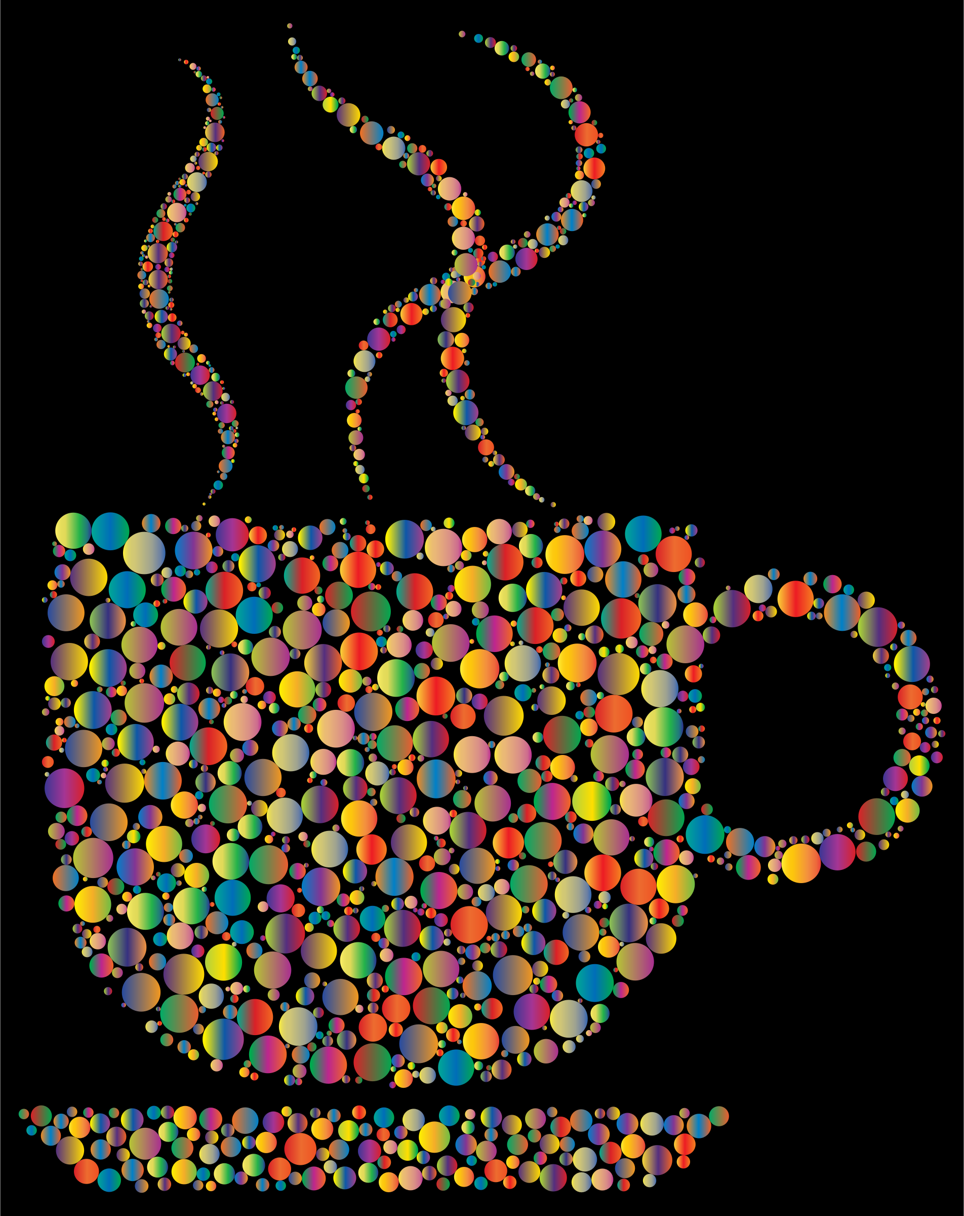 Colorful Coffee Circles 4 With Black Background by GDJ