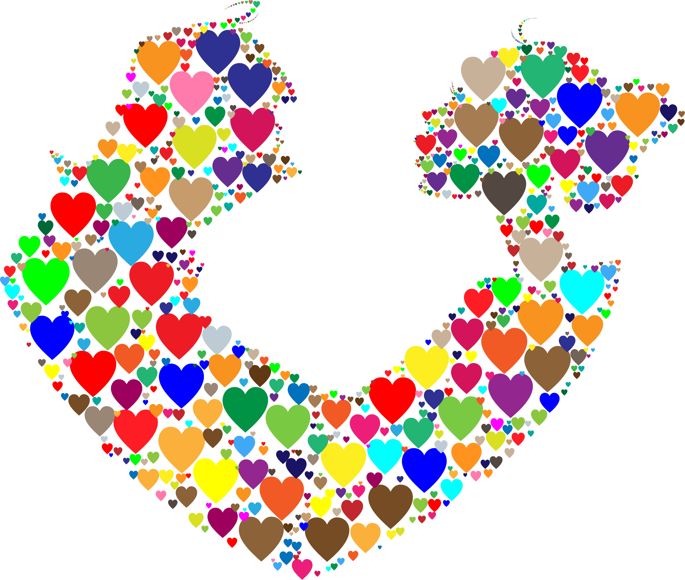 Colorful Couple Silhouette Hearts by GDJ