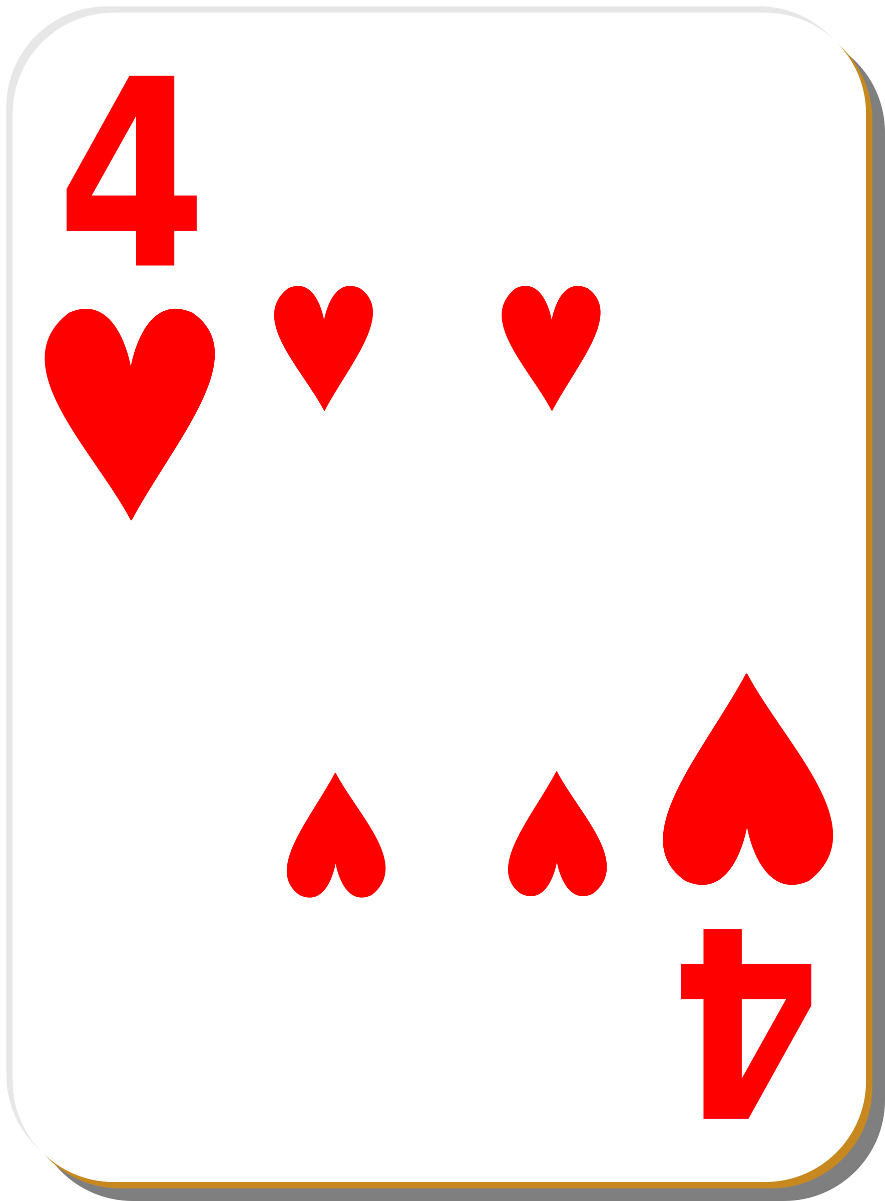 White deck: 4 of hearts by nicubunu