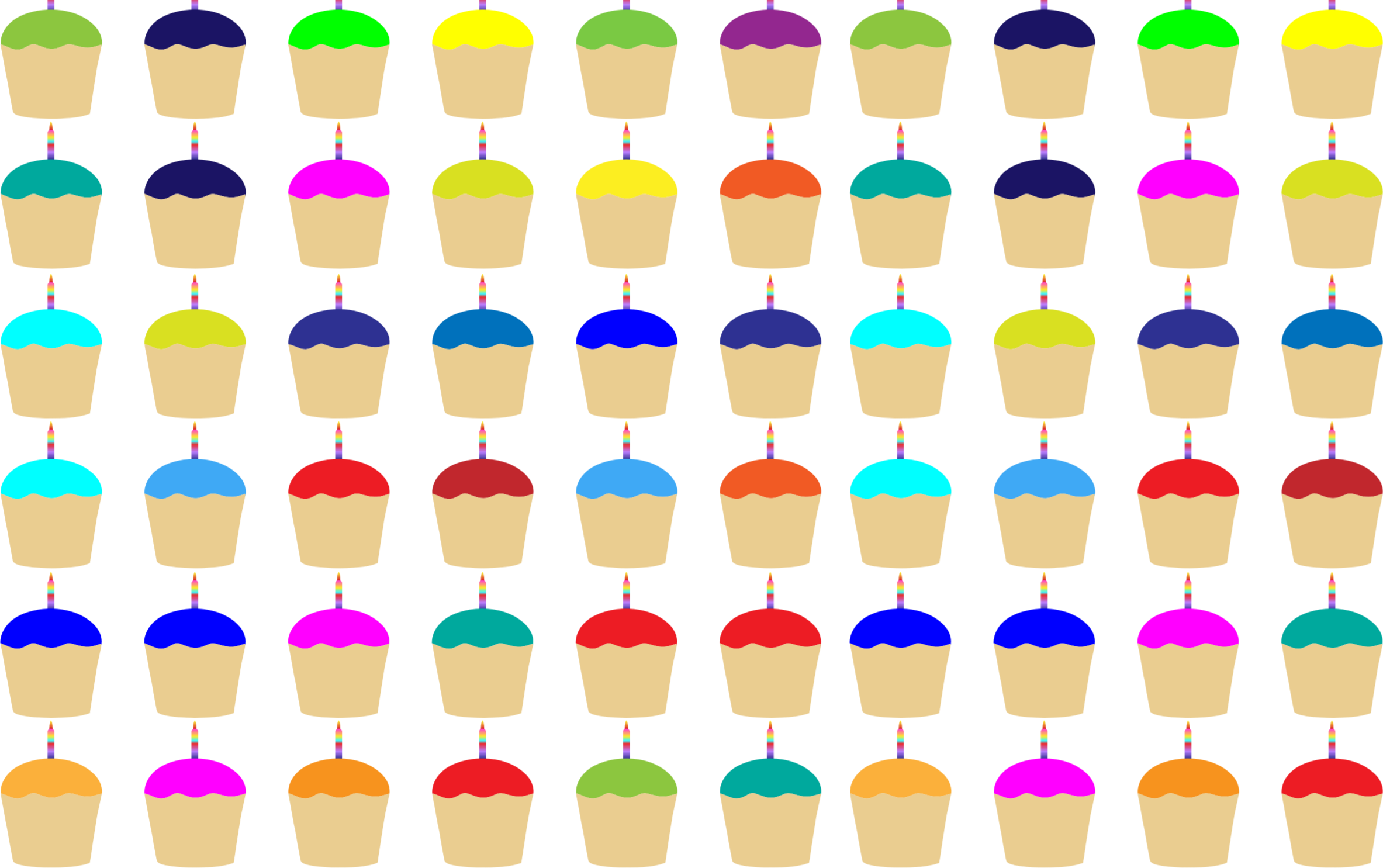 Seamless Colorful Cupcakes With Candles Pattern by GDJ