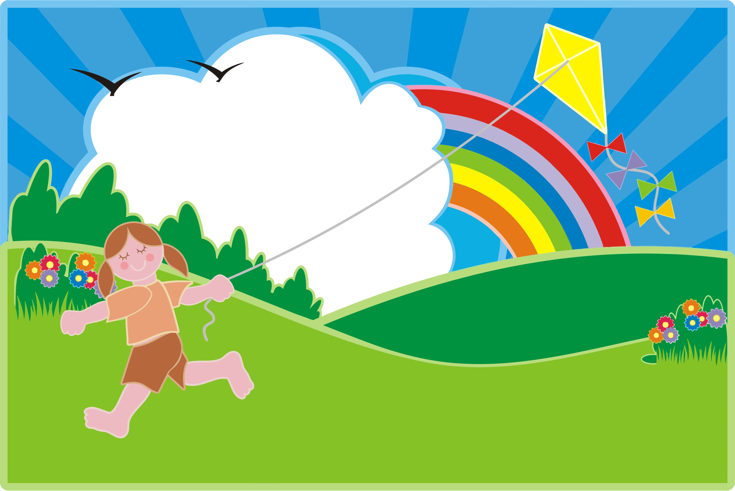Girl Flying Kite In Colorful Landscape by GDJ