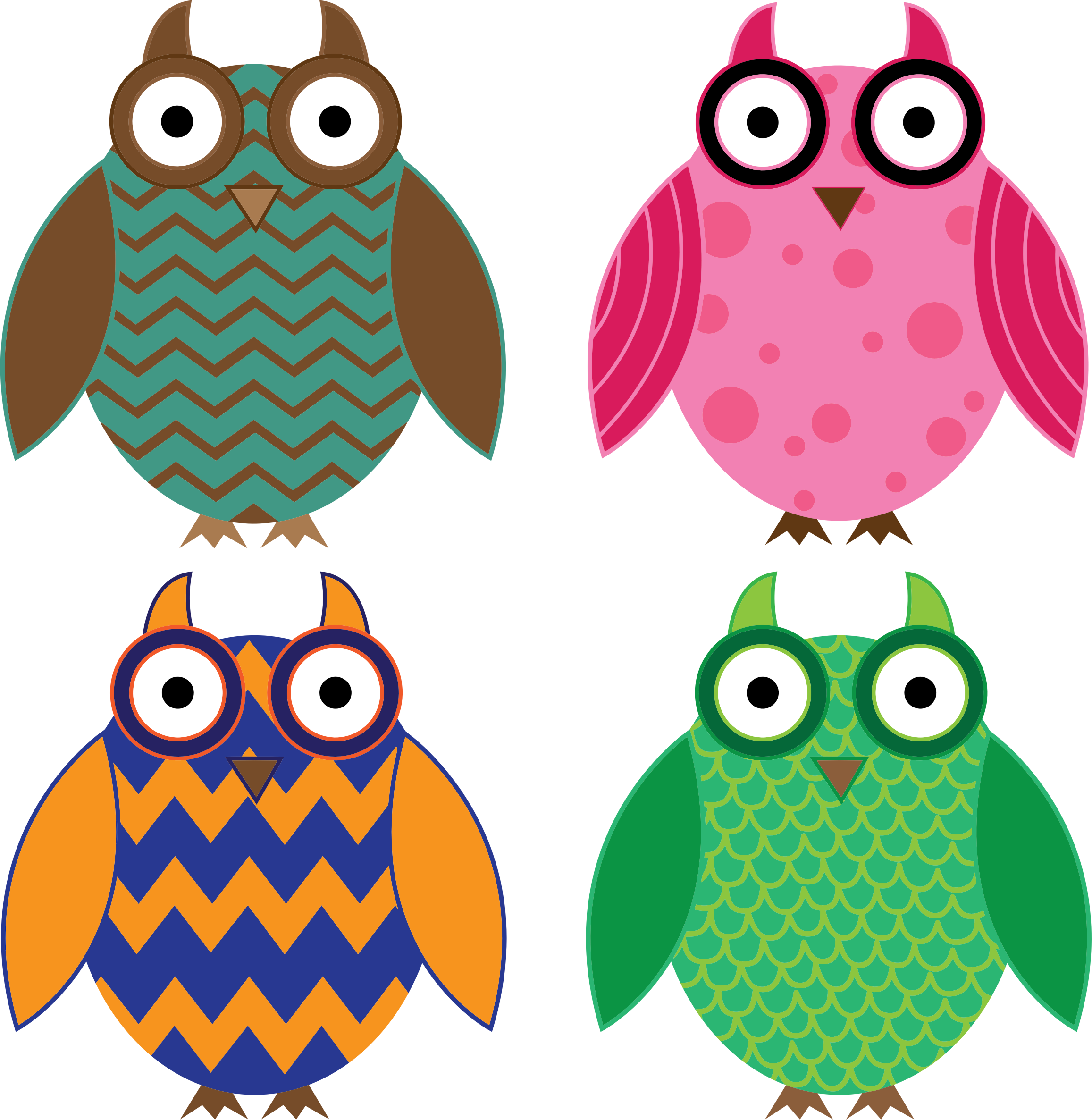 Four Colorful Owls by GDJ