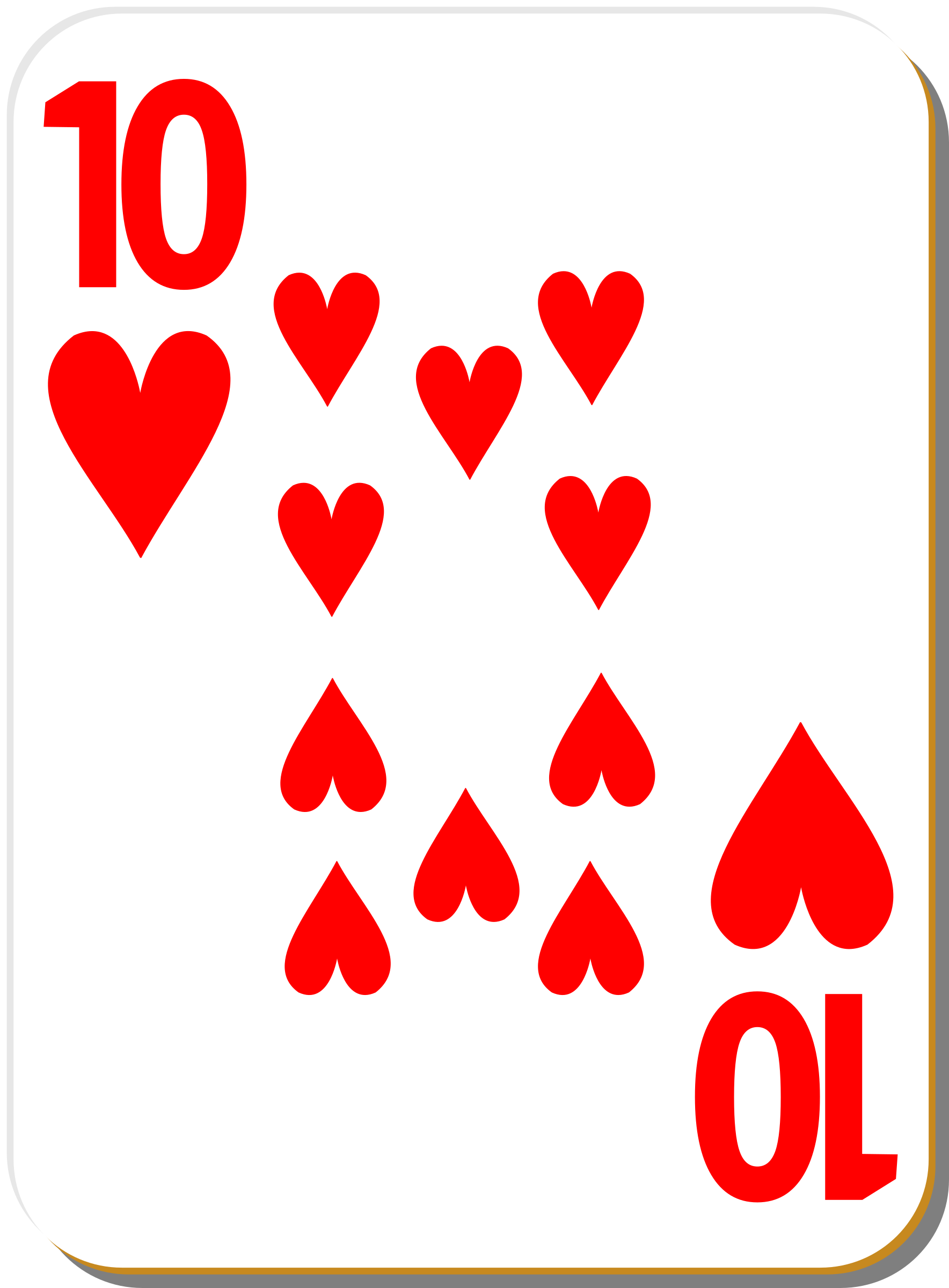 White deck: 10 of hearts by nicubunu