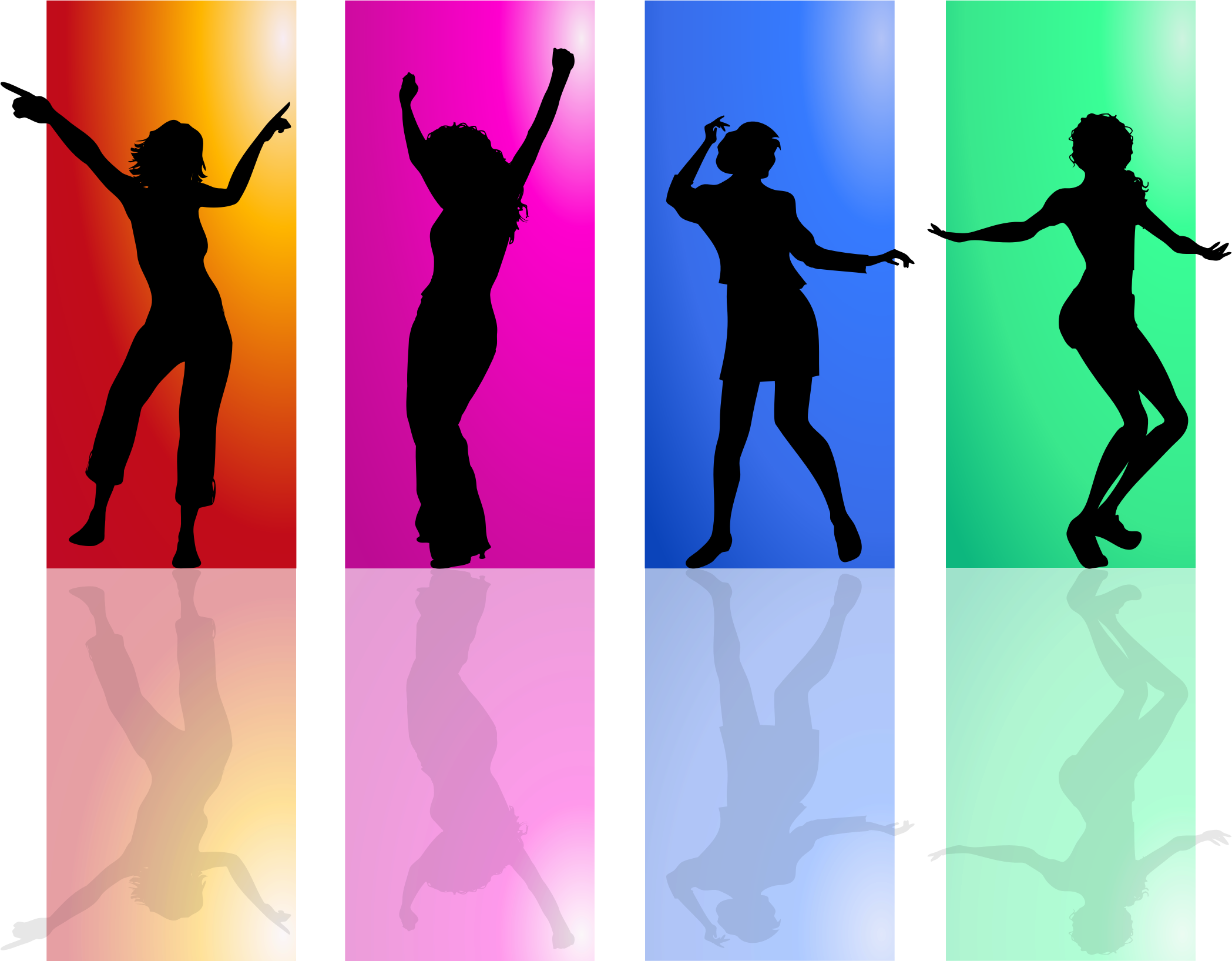 Colorful Dancing Women Silhouette by GDJ