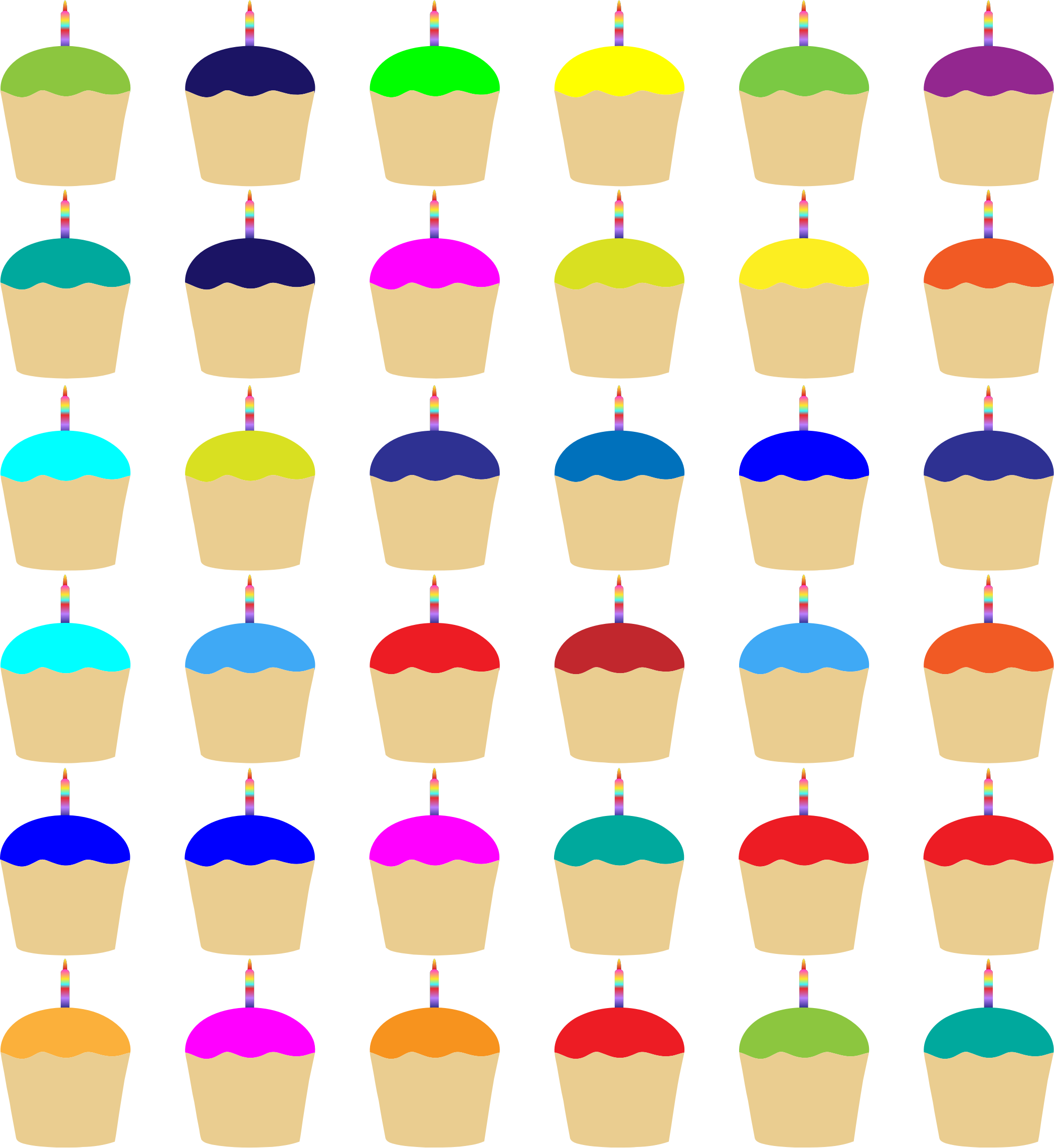 Colorful Cupcakes With Candles Pattern by GDJ