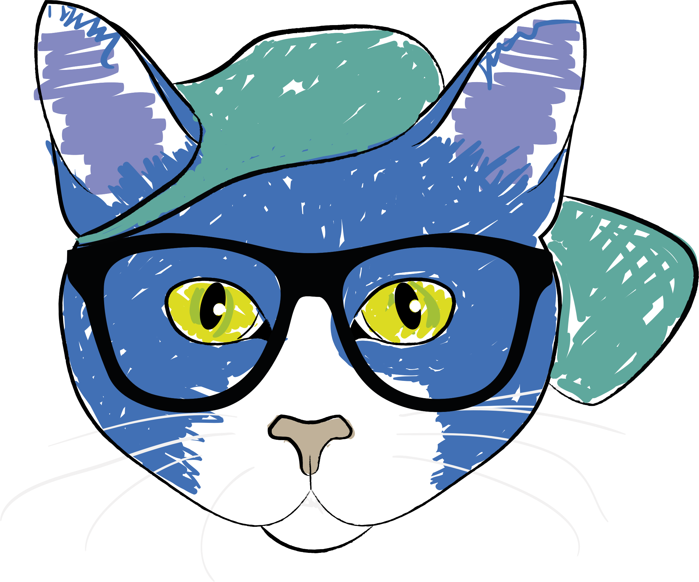 Cat Wearing Glasses by GDJ