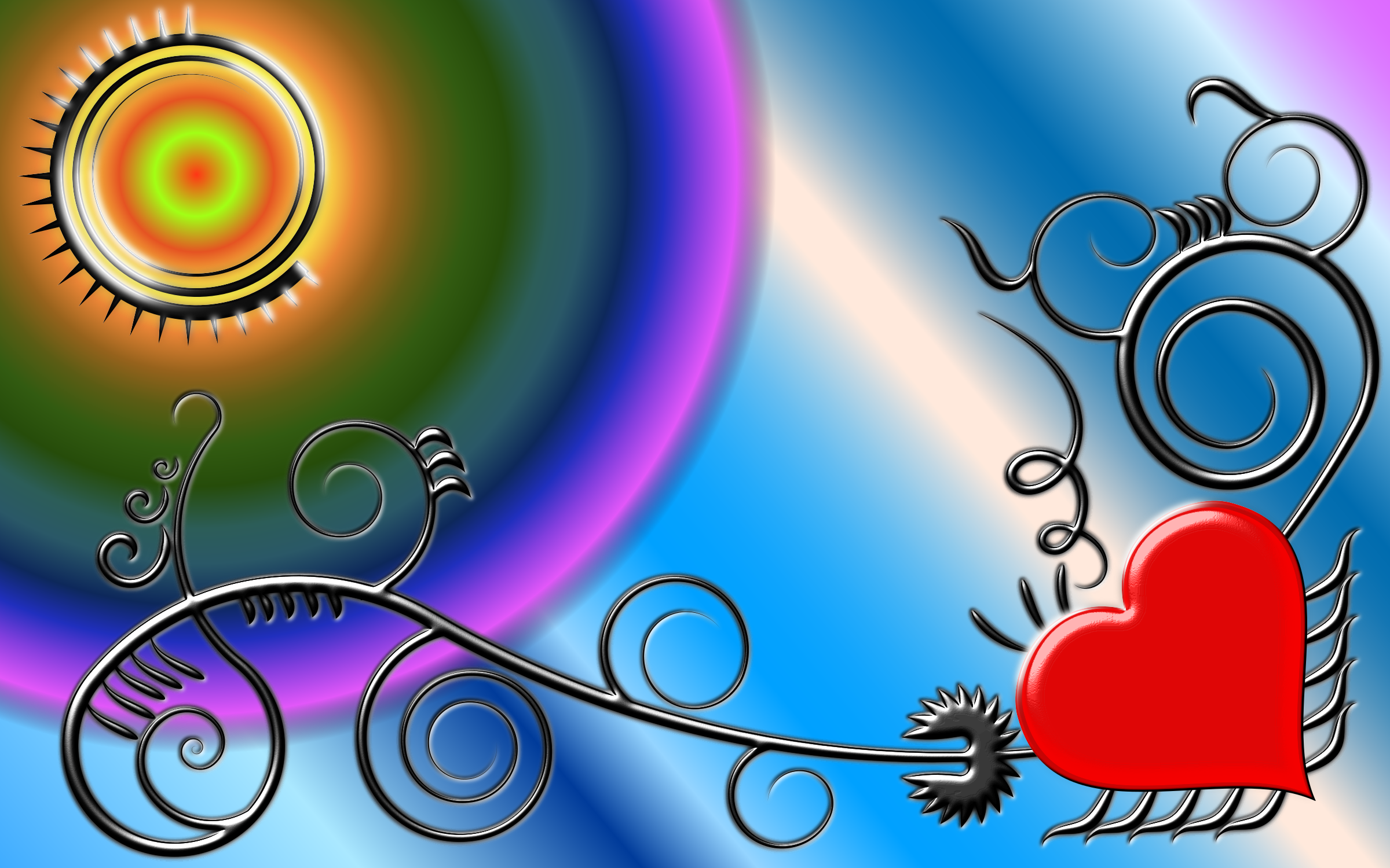 Heart Flourish Background by GDJ