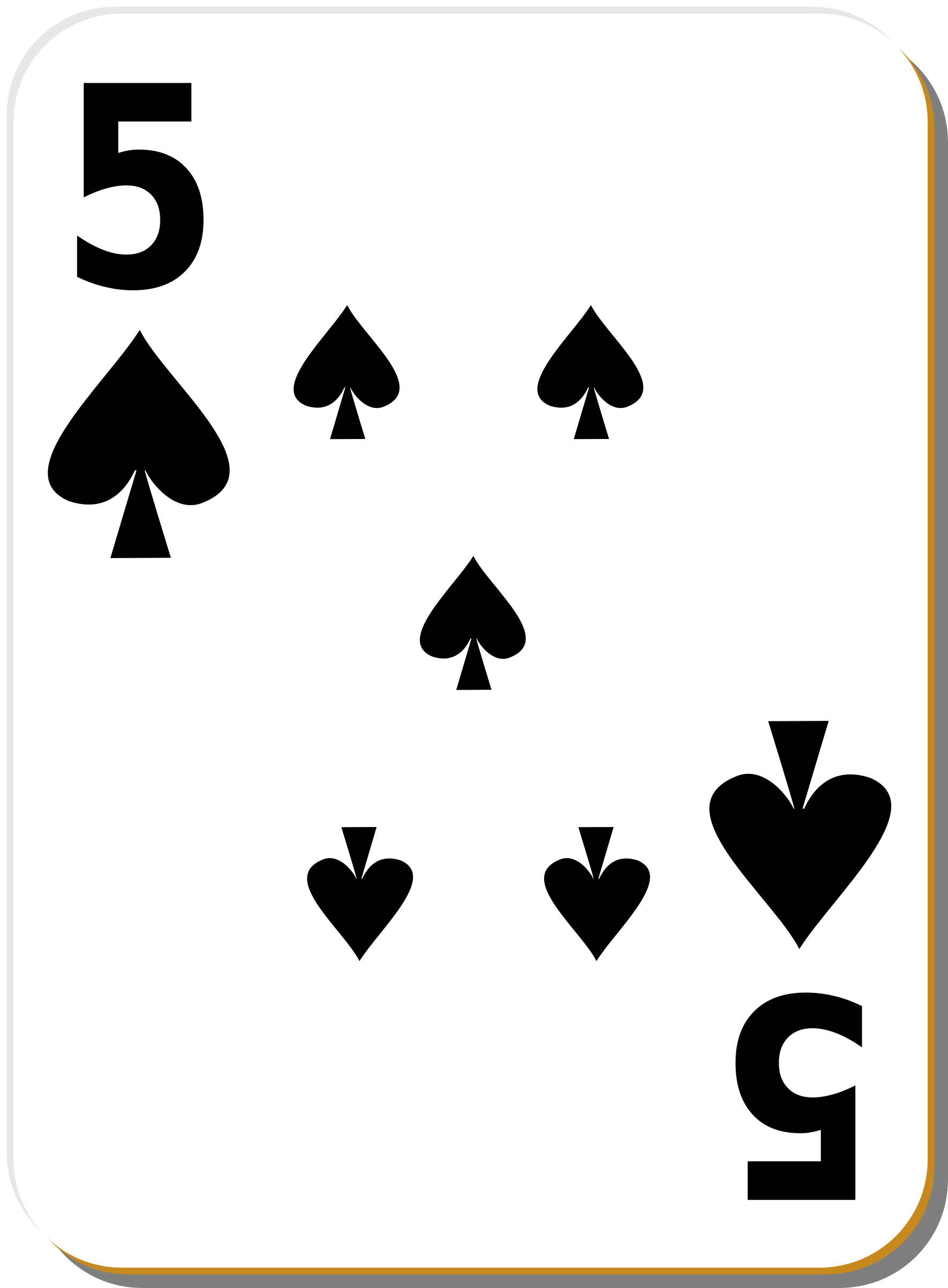 White deck: 5 of spades by nicubunu