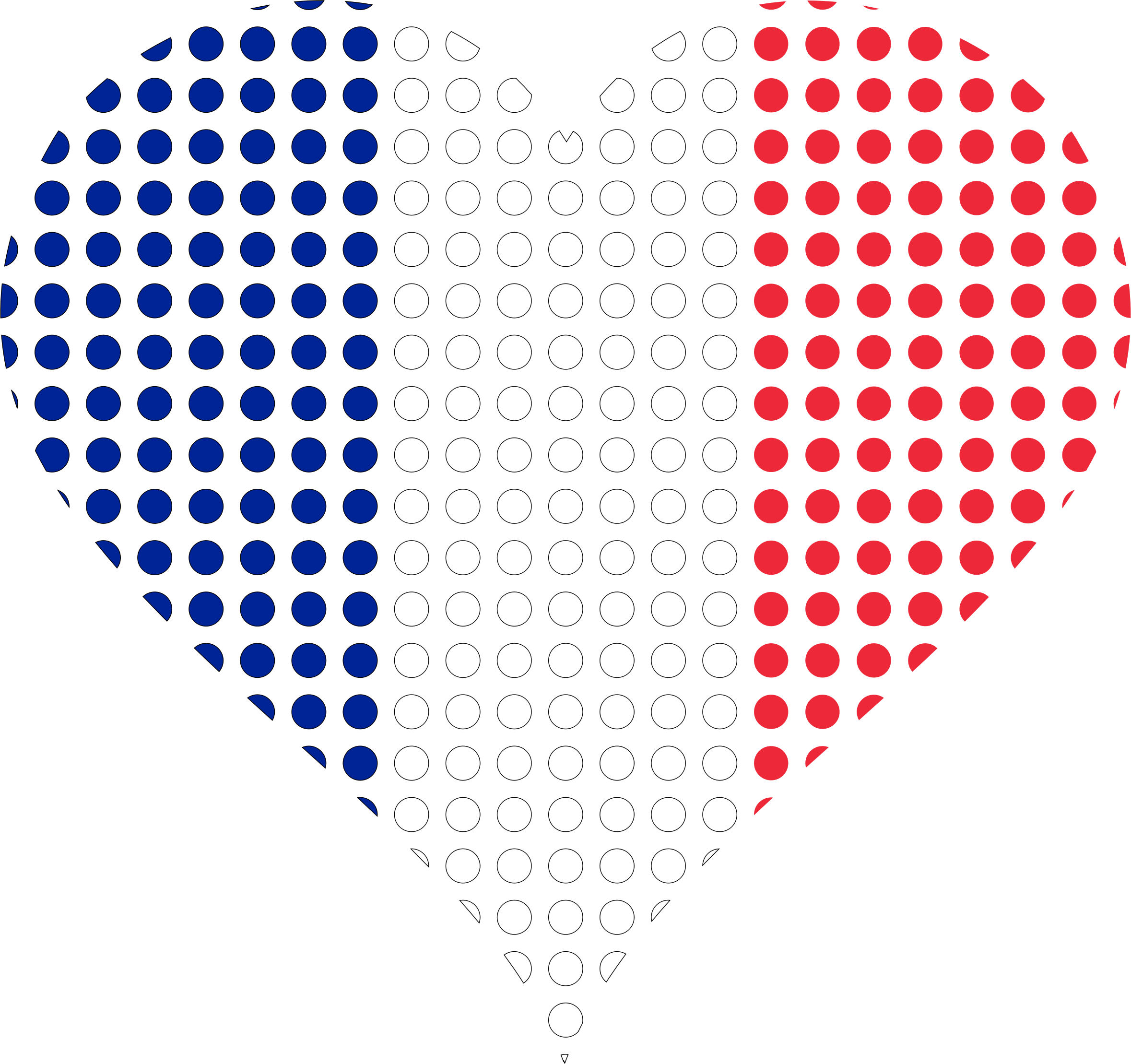Heart France Flag Circles Stroked by GDJ