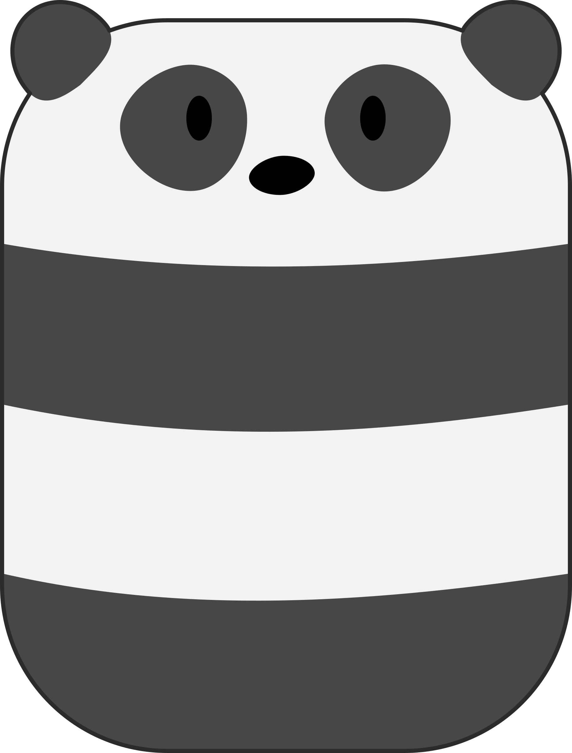 Curved Cute Minimal Panda Bear by qubodup