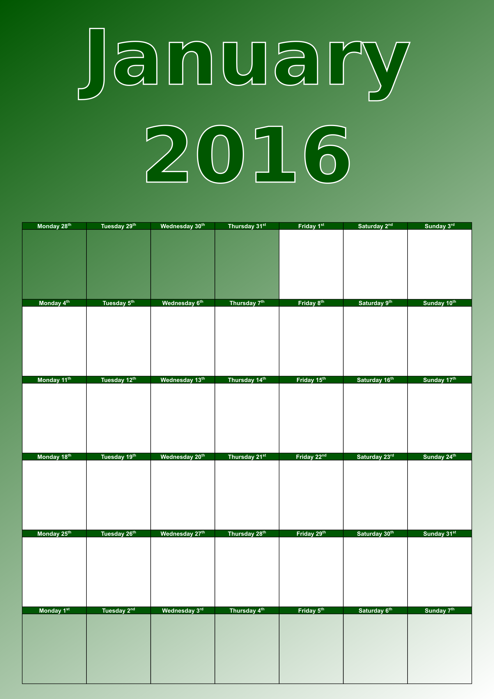 January calendar 2016 by Firkin