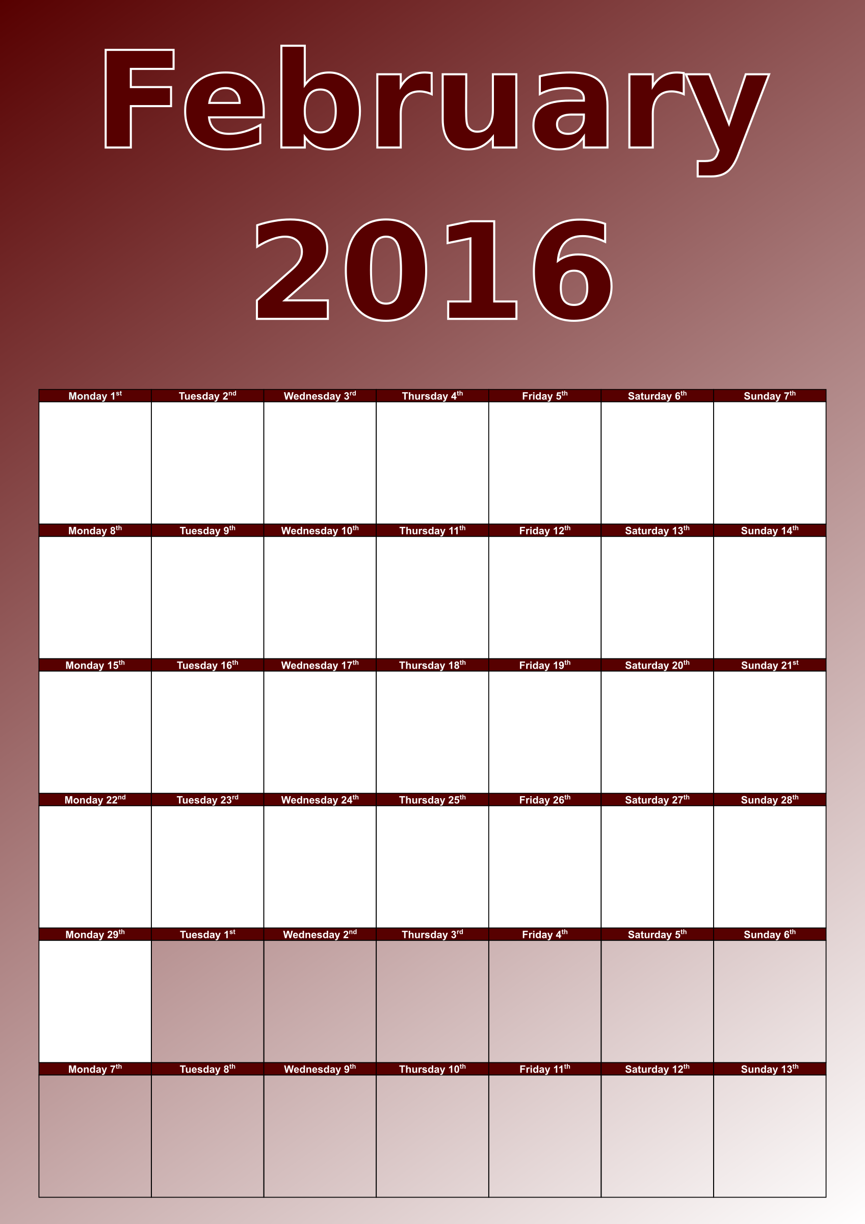 Pin Download Calendar February 2014 As A Graphicimage In Png Format on ...