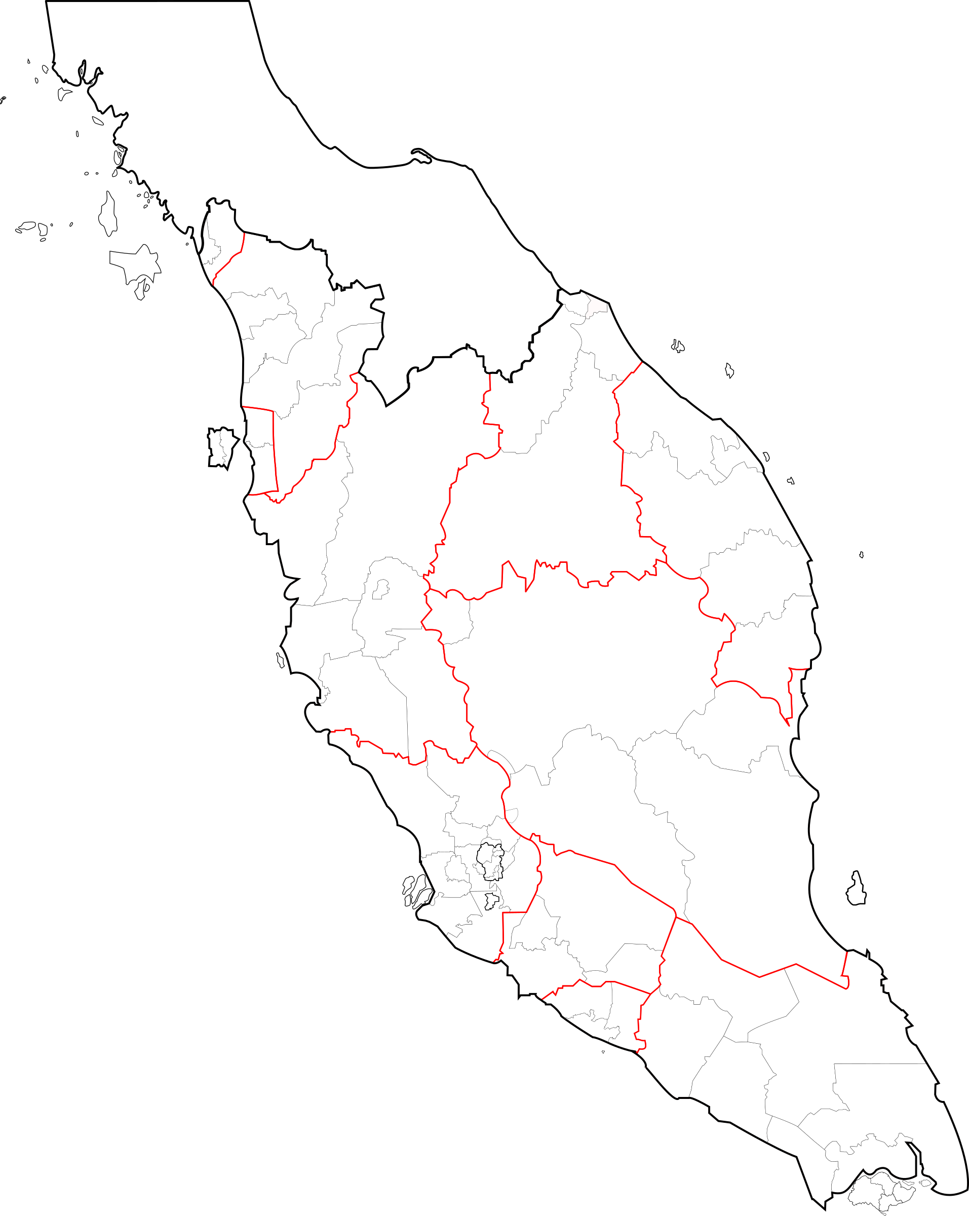 Clipart Blank Map Of Peninsular Malaysia Fixed And Updated - Thailand blank map
