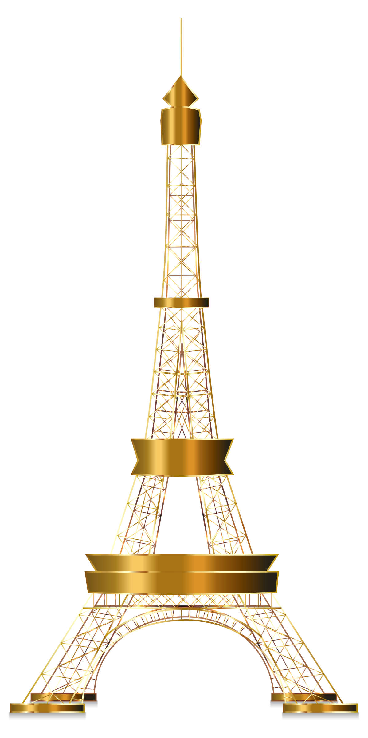 Eiffel Tower Two Gold No Background by GDJ