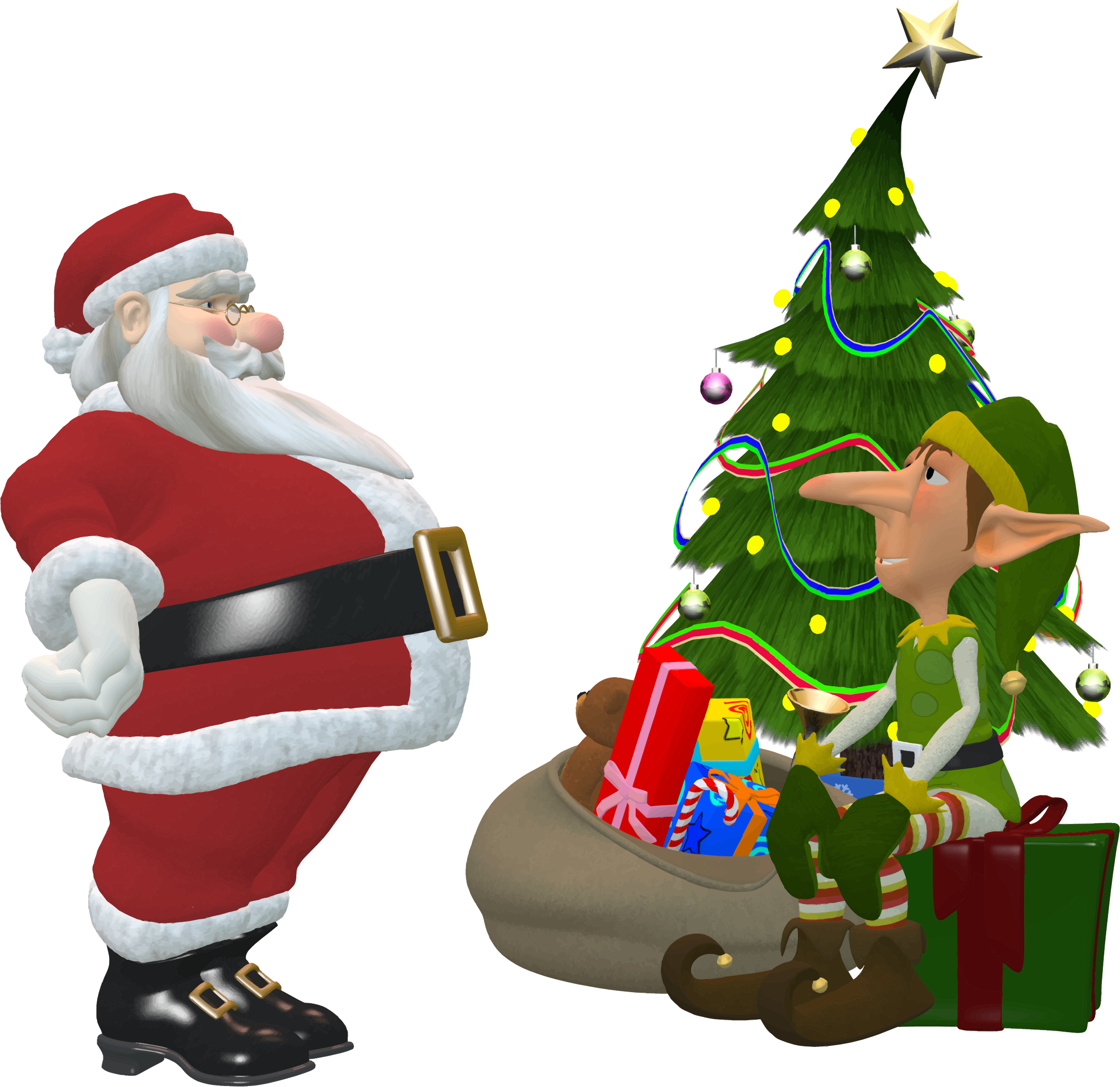 Santa Claus And Elf by GDJ