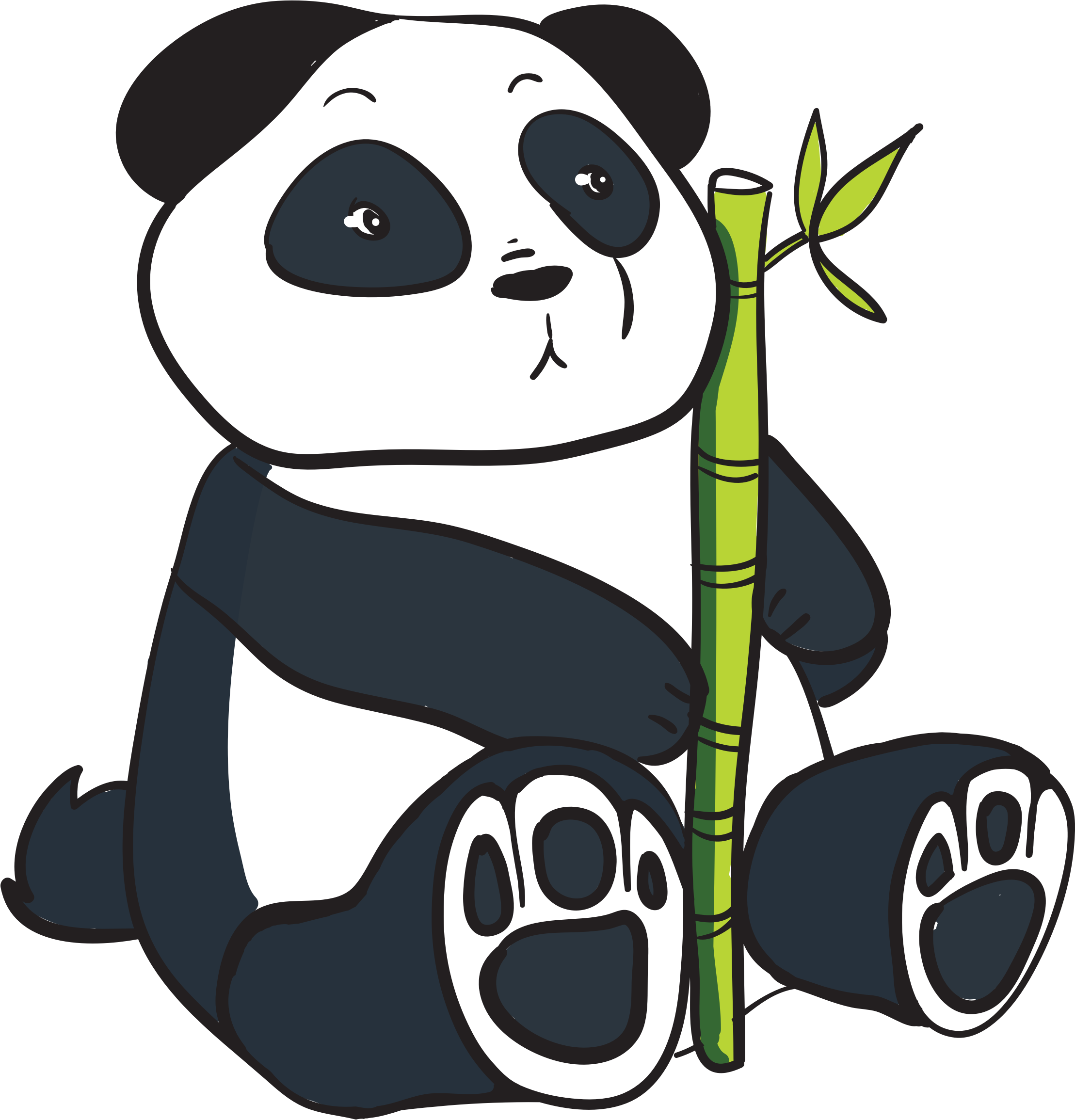 Panda With Bamboo Stalk by GDJ