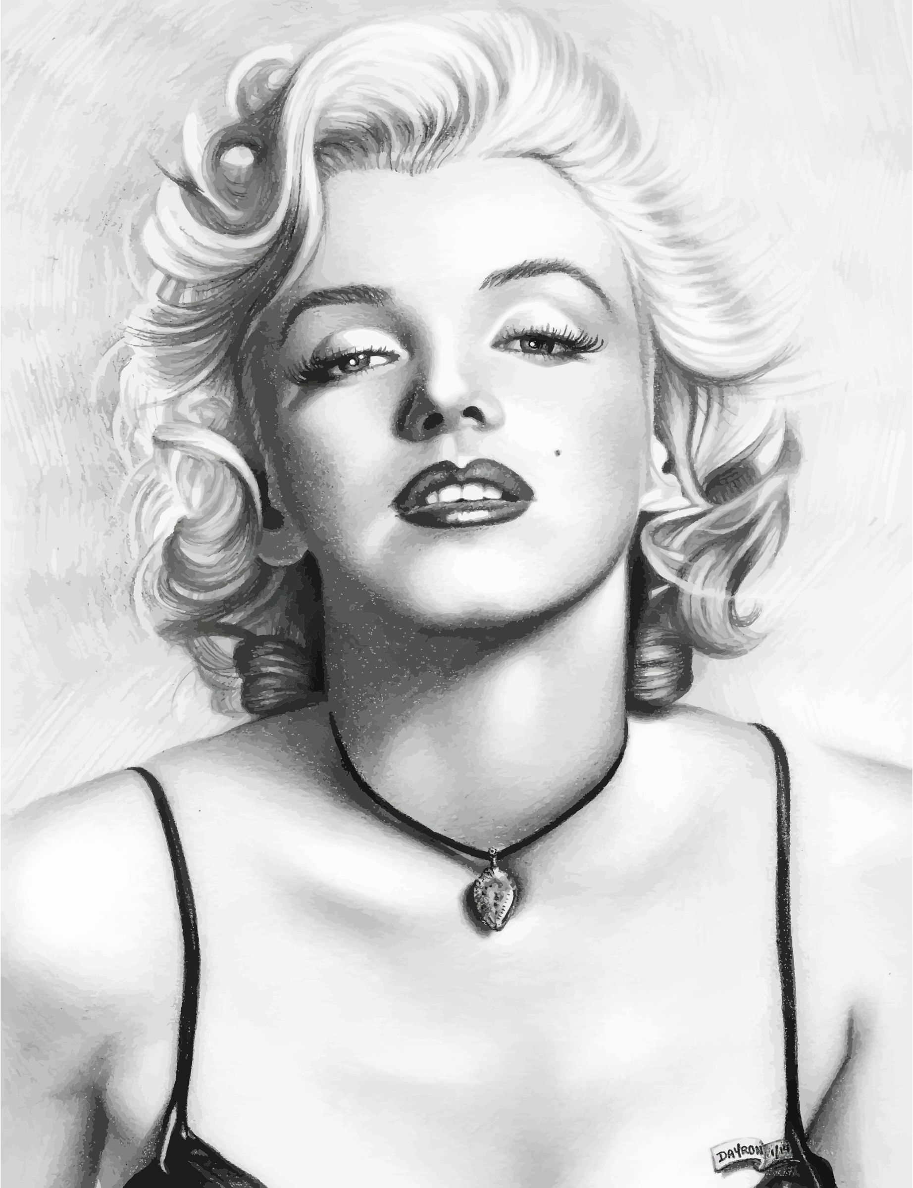 Marilyn Monroe Pencil Sketch Portrait by GDJ
