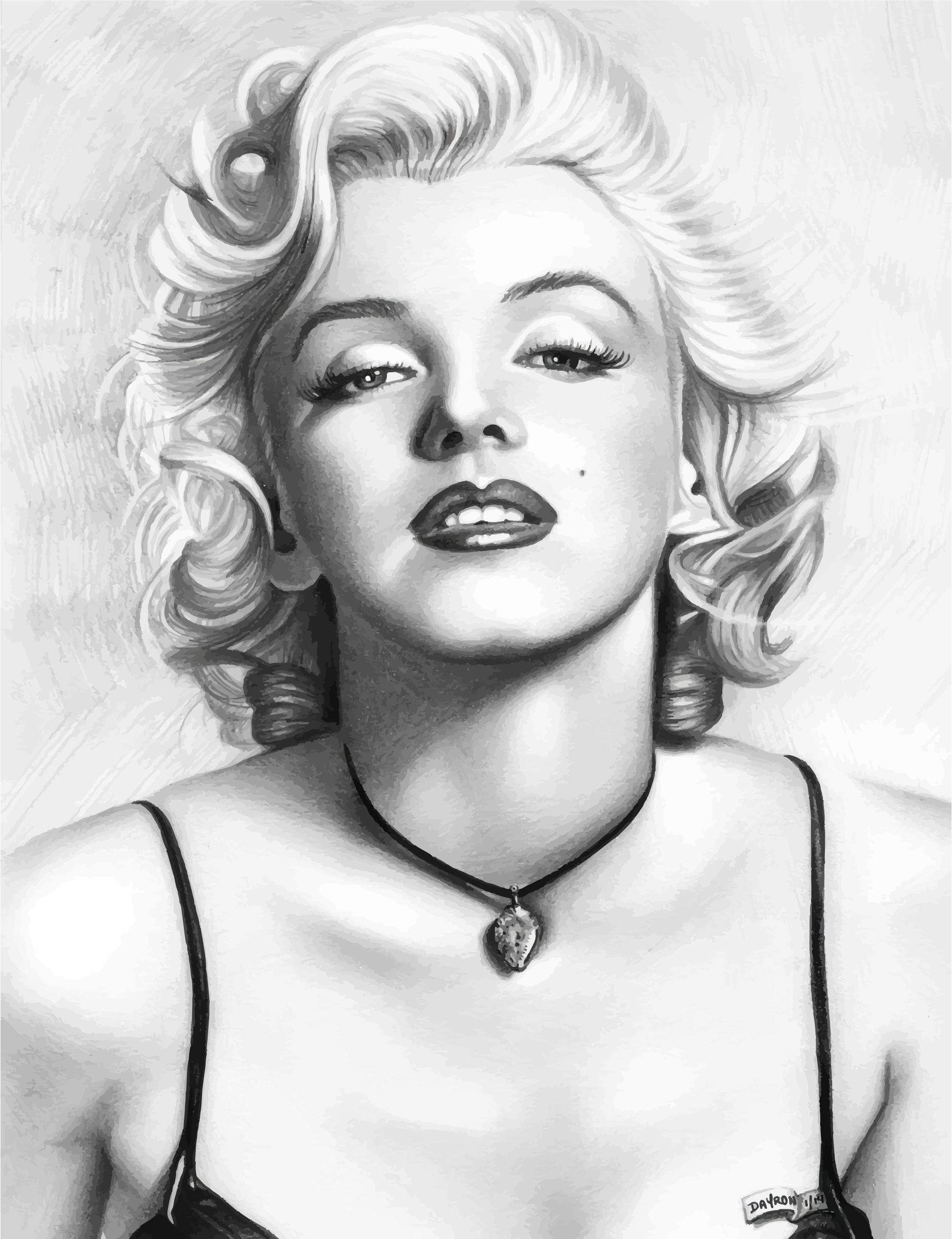 Marilyn Monroe Pencil Sketch Portrait Trace 2 by GDJ