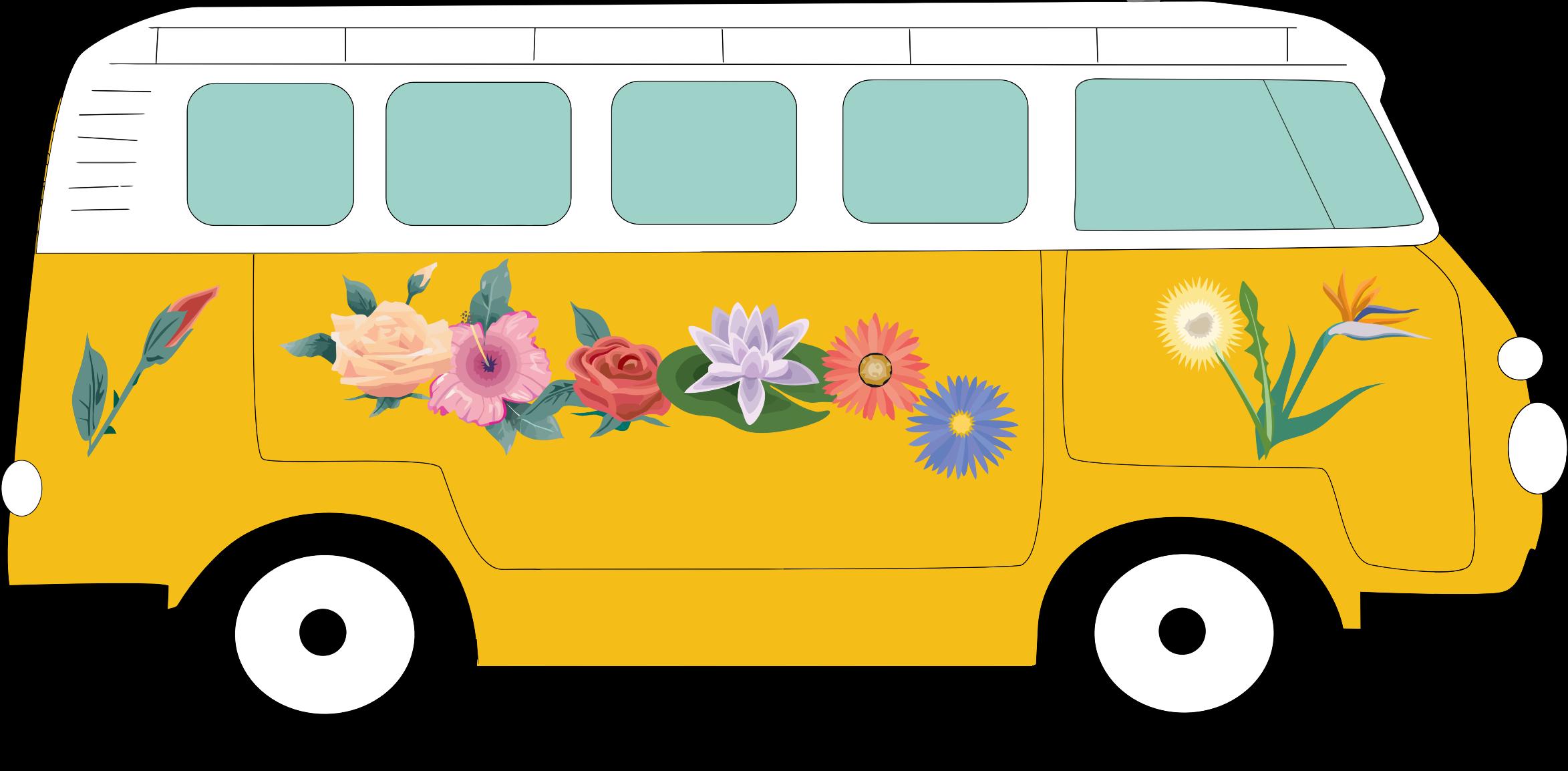 Clipart - Floral Volkswagen Camper