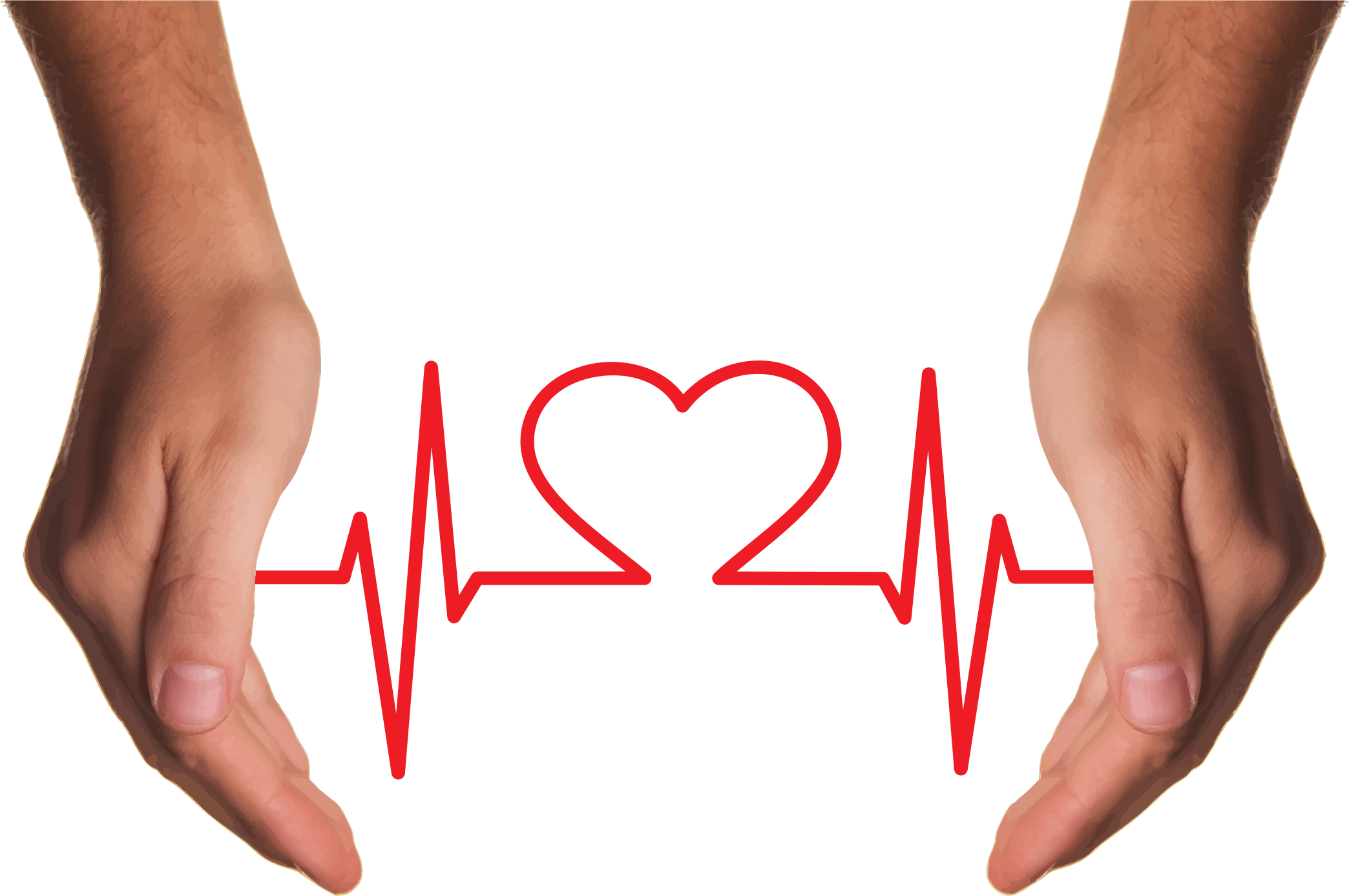 Clipart - Cupping Hands Heart EKG