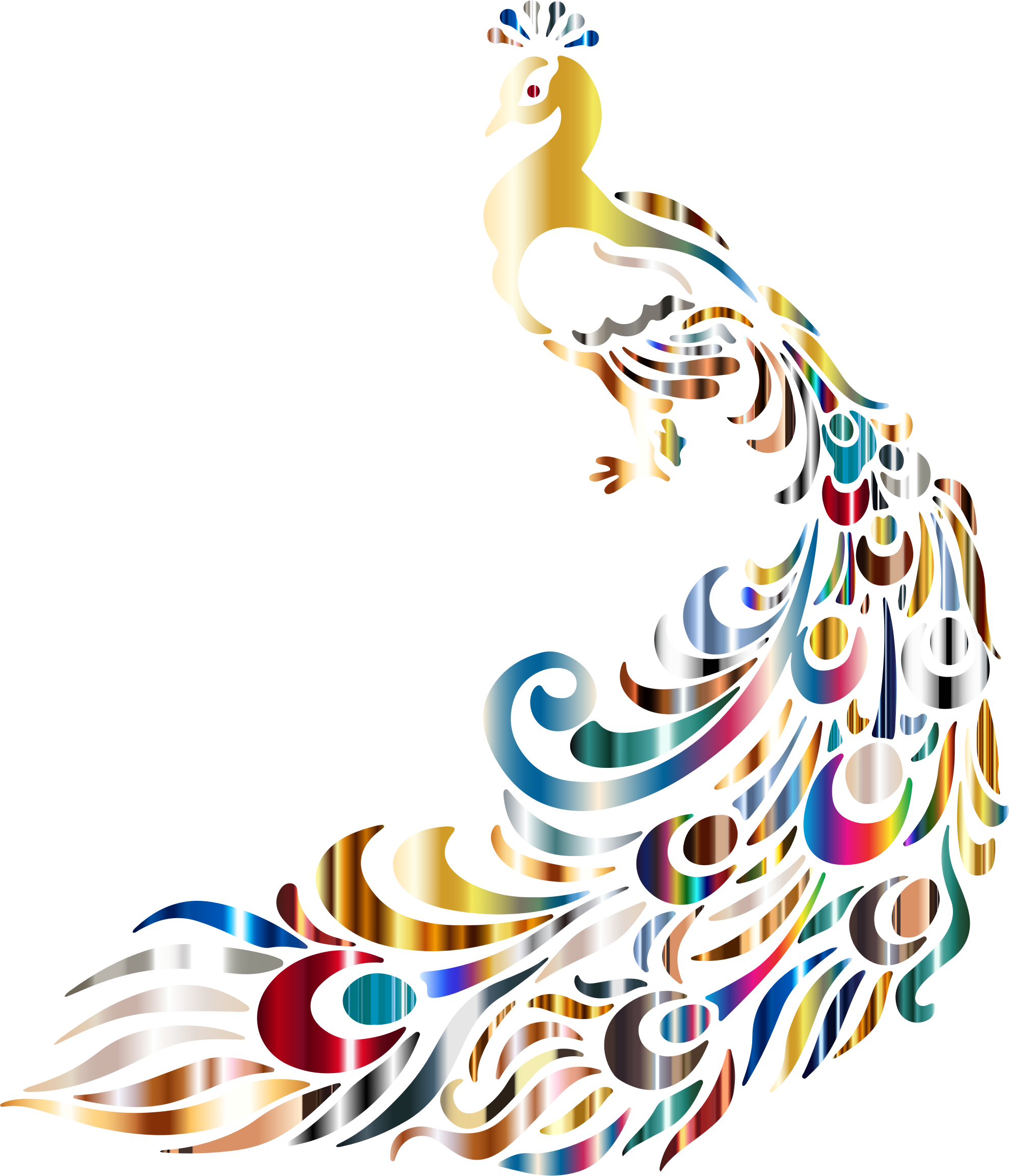 Clipart - Chromatic Peacock 3 No Background