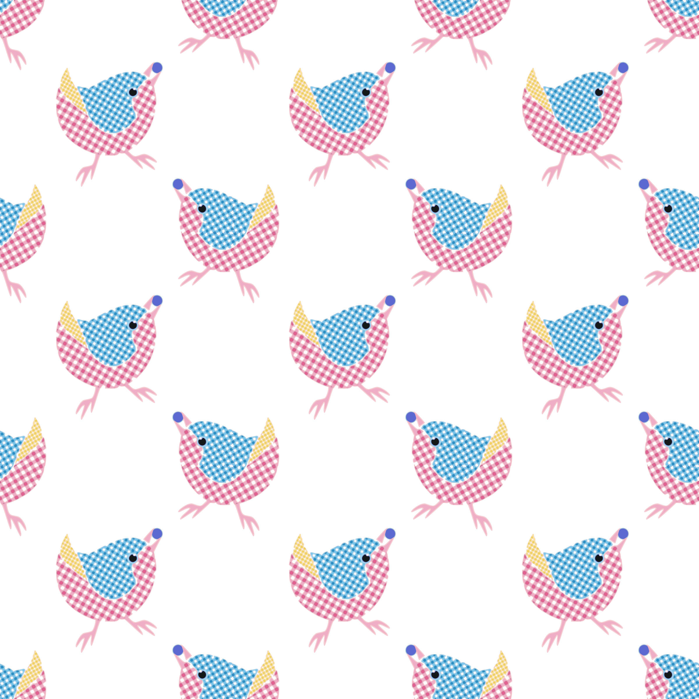 Gingham Bird-seamless pattern by yamachem