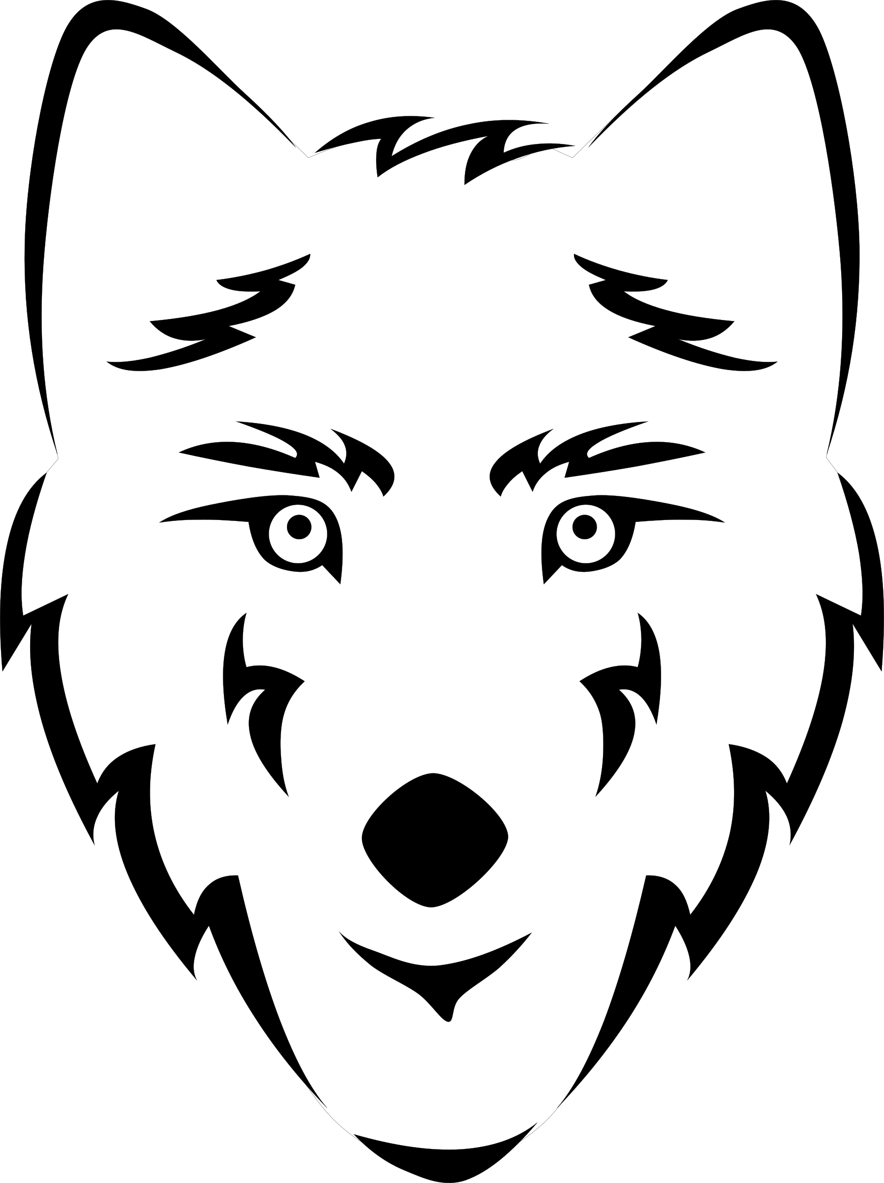Wolf face coloring - photo#8