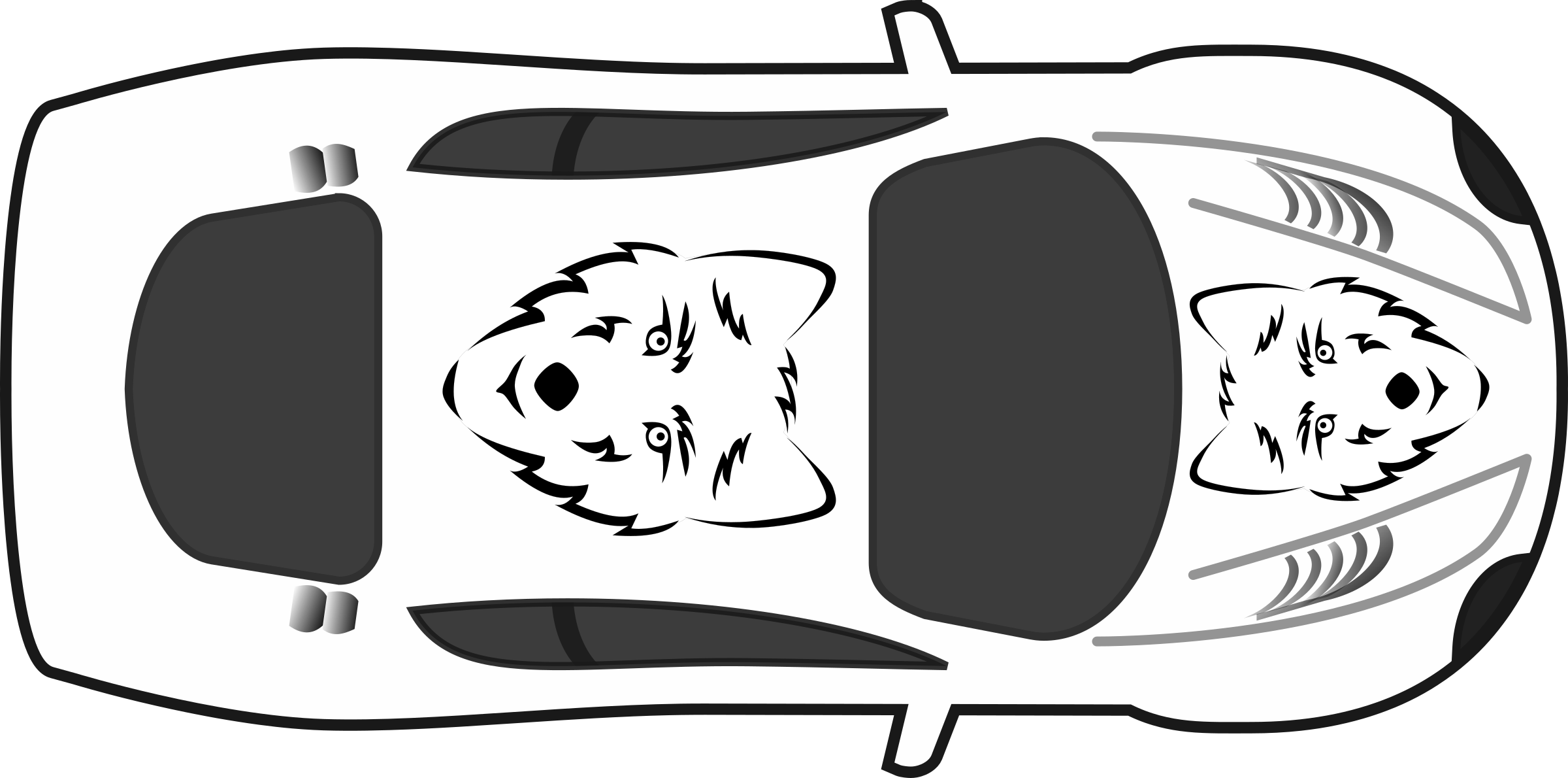Clipart Wolf Paint Job On Car Top View