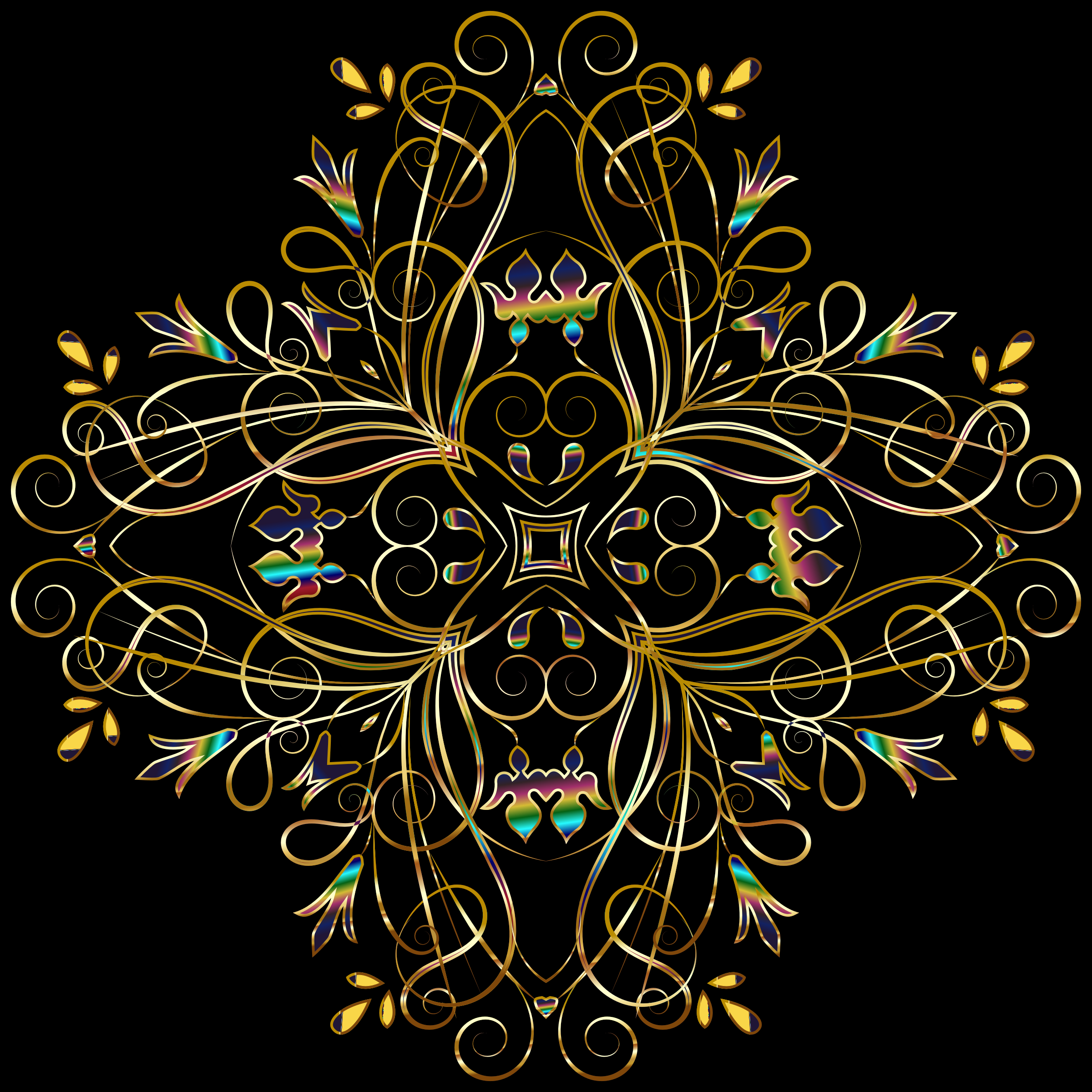 Flourishy Floral Design 11 Variation 1 by GDJ