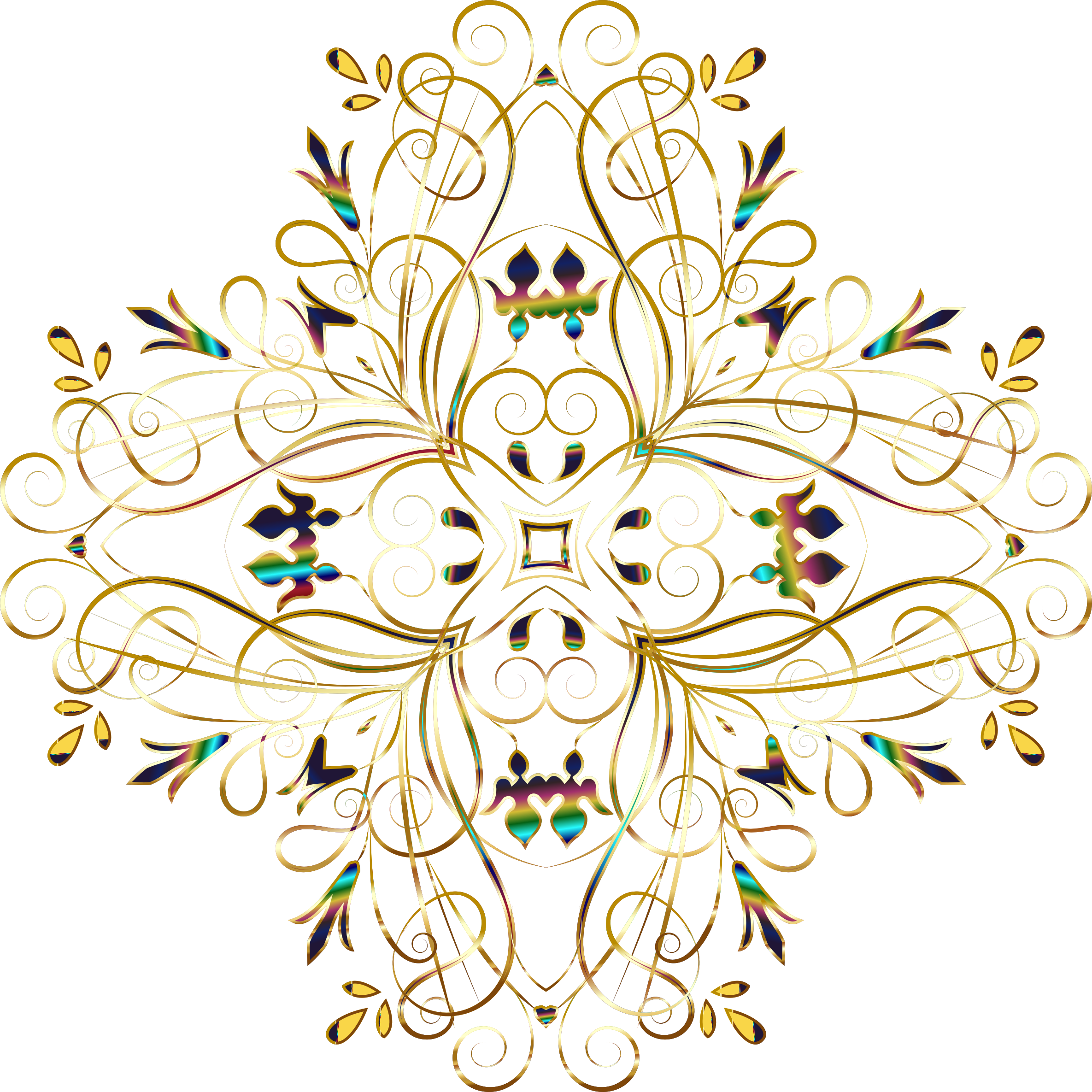 Flourishy Floral Design 11 Variation 1 No Background by GDJ