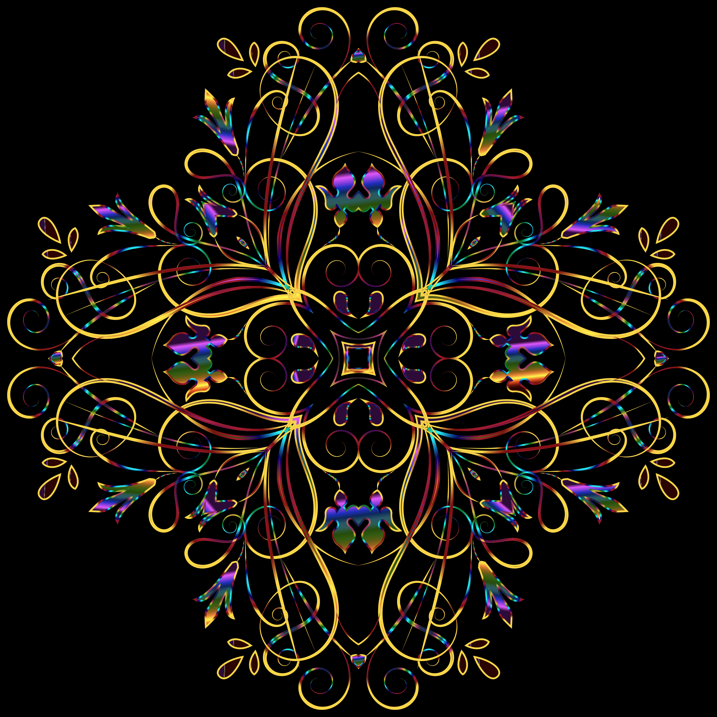 Flourishy Floral Design 11 Variation 2 by GDJ