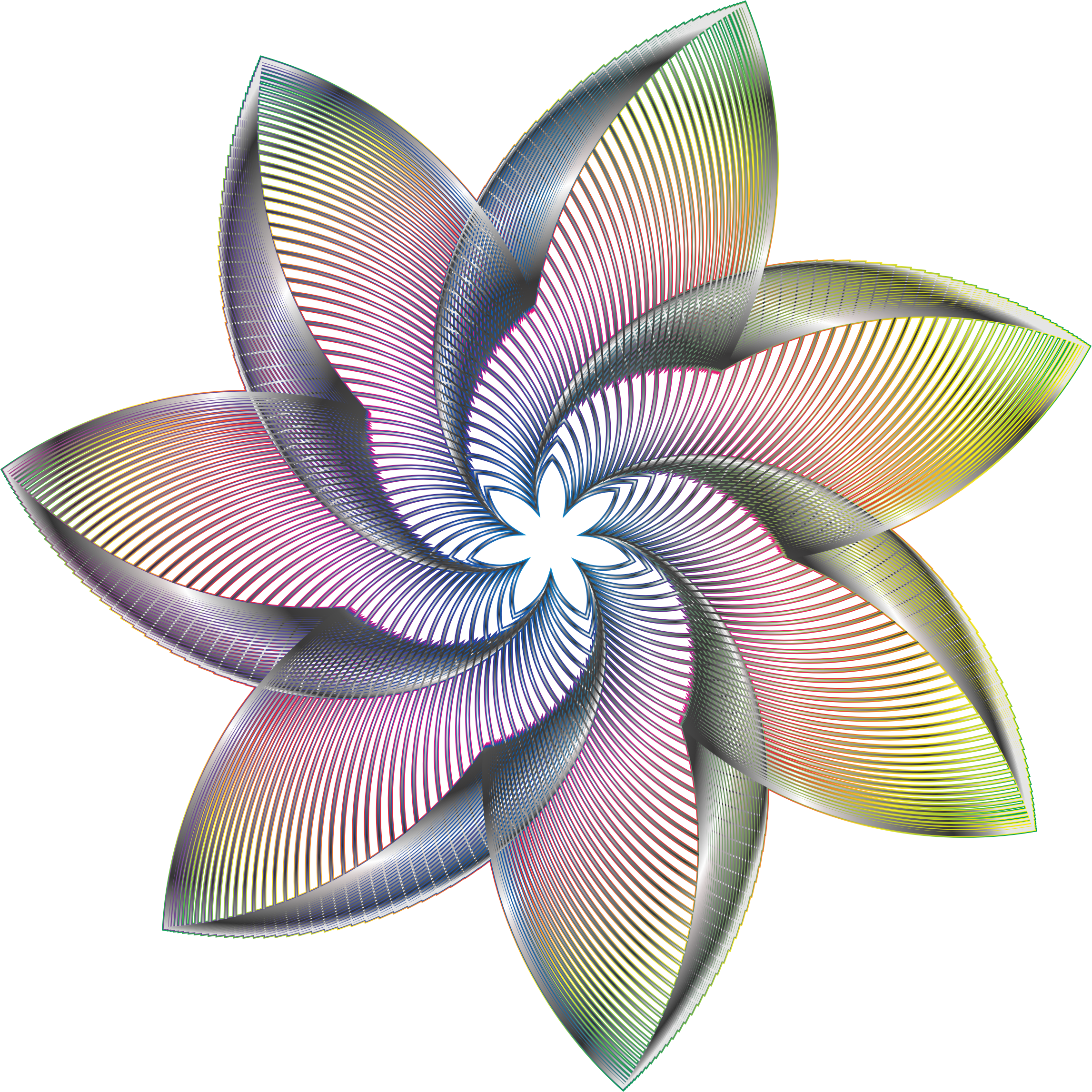 Prismatic Flower Line Art 7 No Background by GDJ