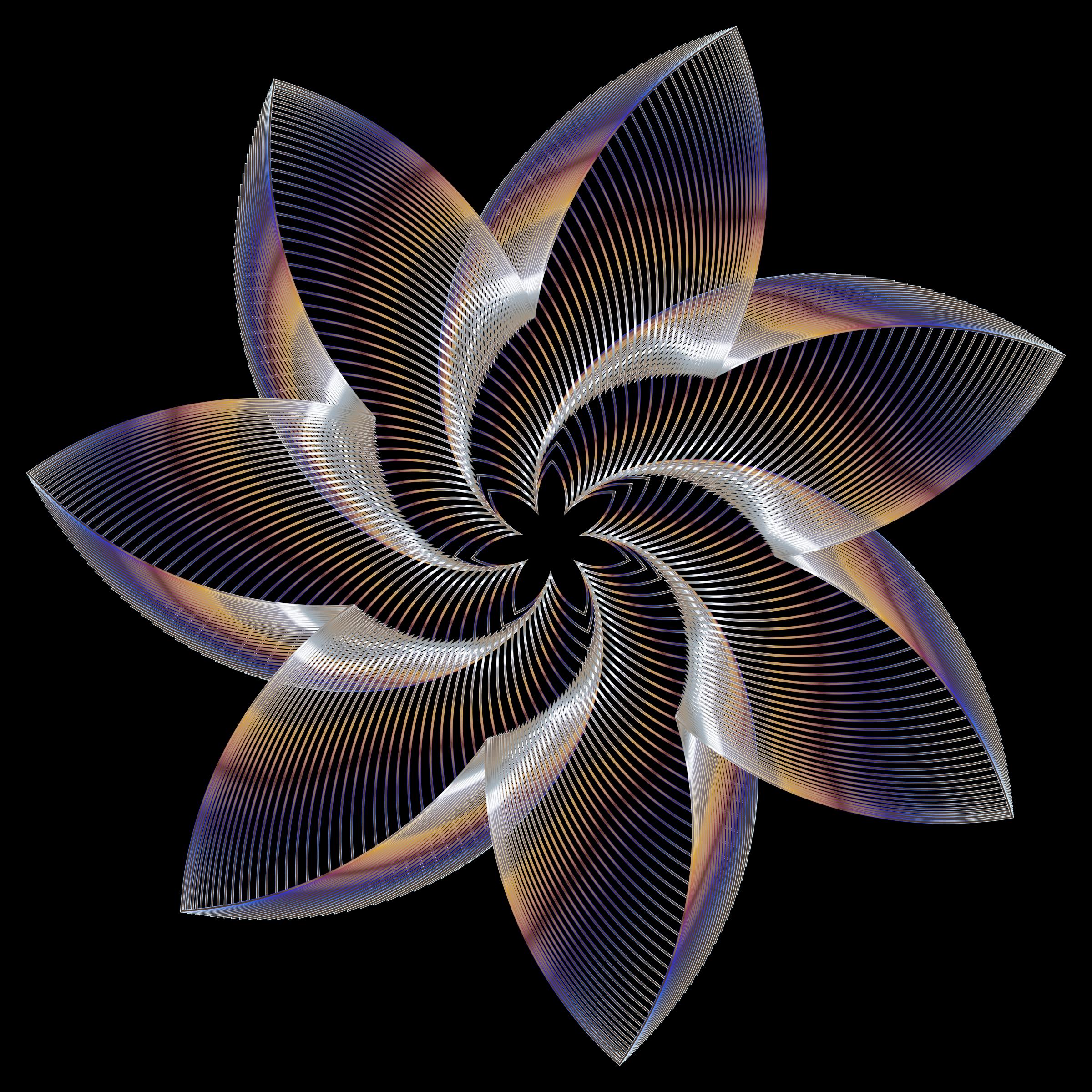 Clipart - Prismatic Flower Line Art 9