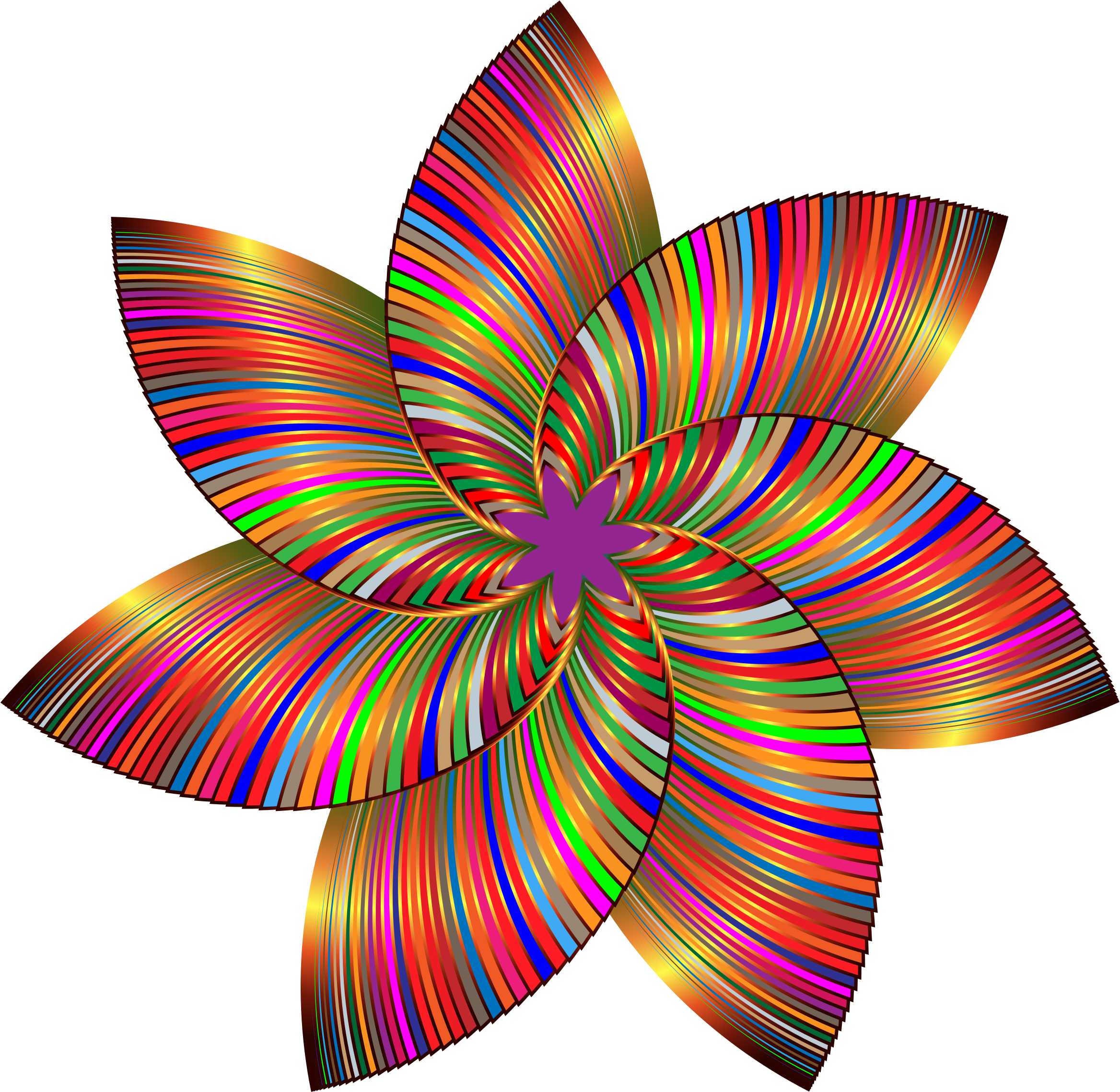 Clipart - Colorful Flower Line Art 3