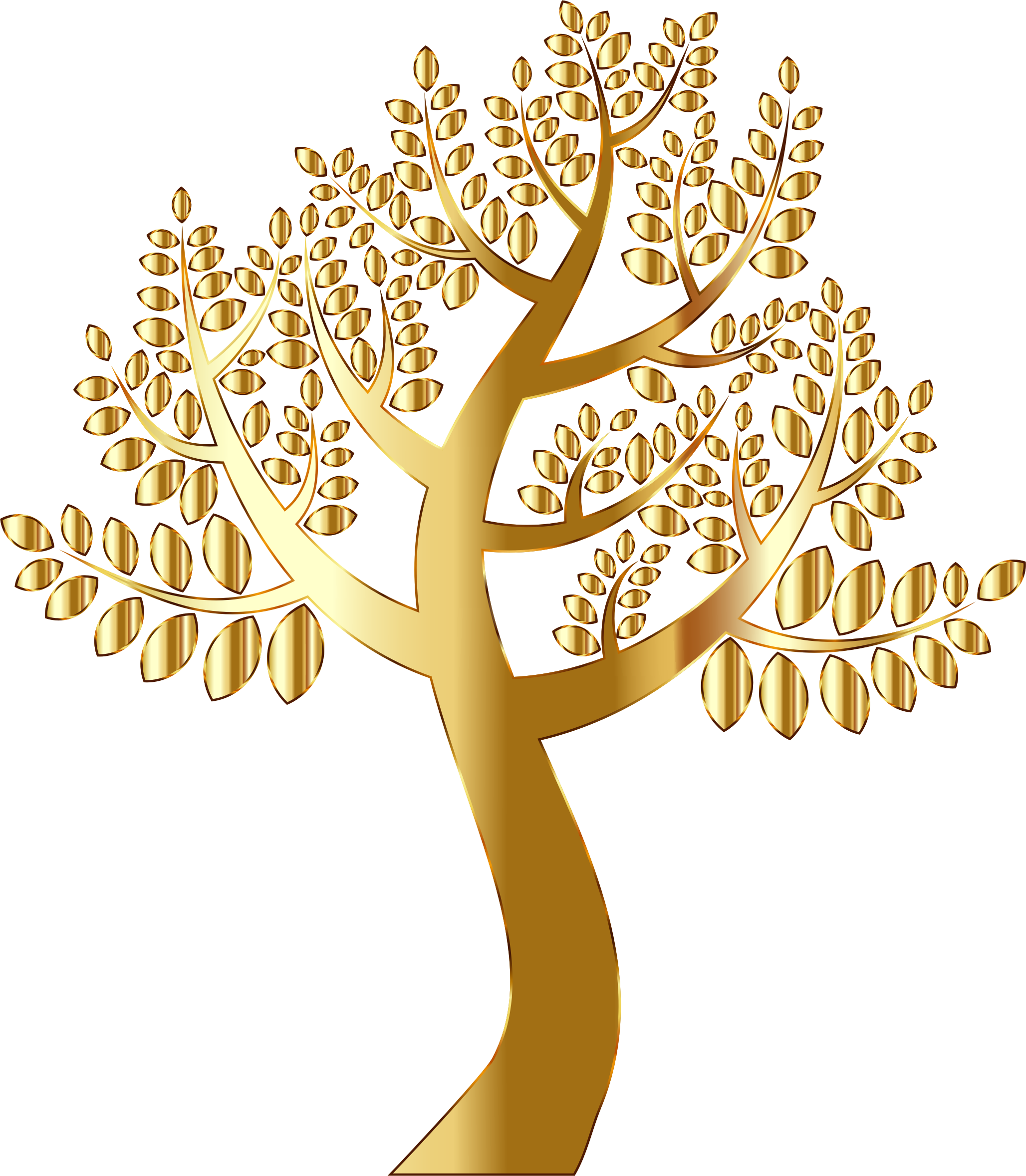 Simple Gold Tree Without Background by GDJ