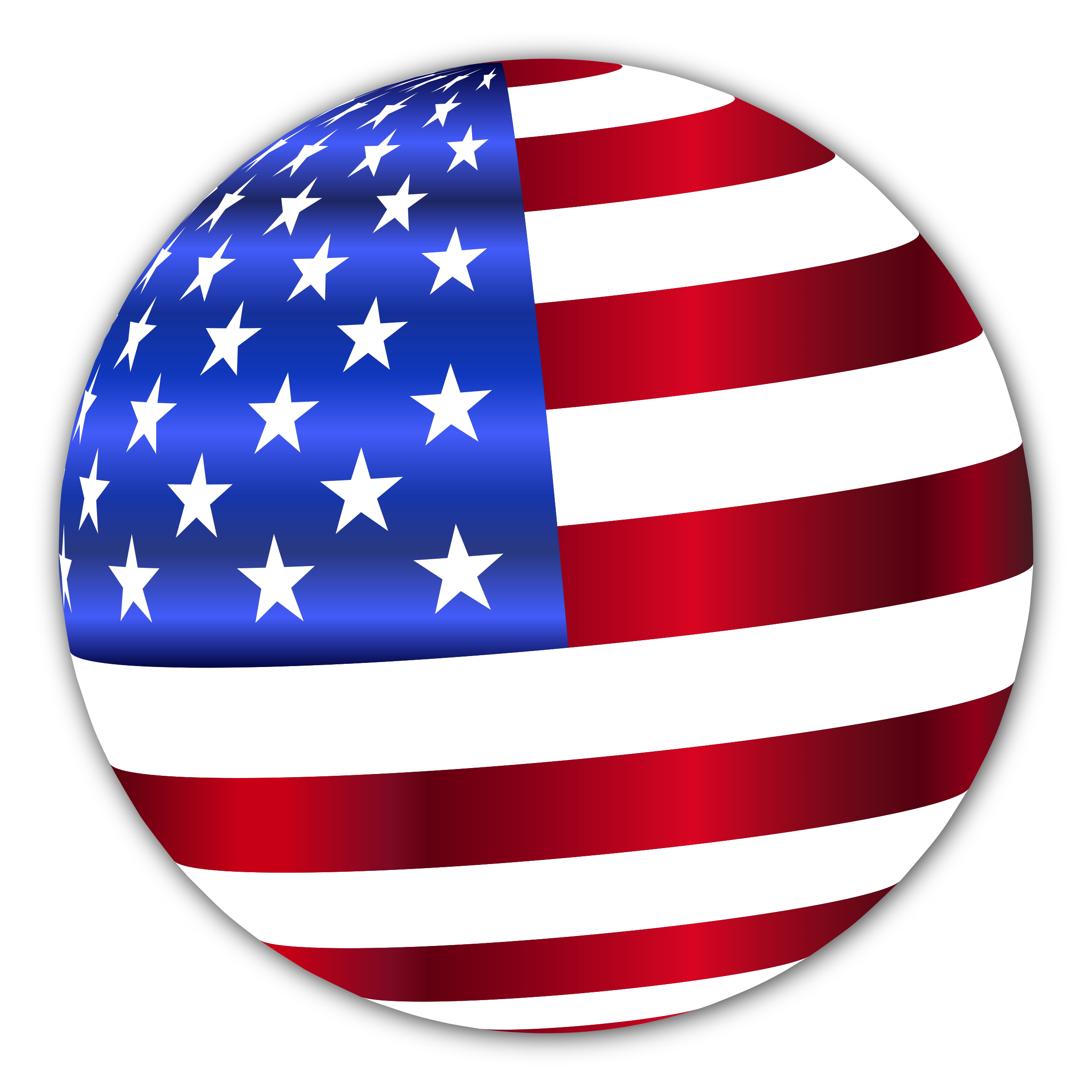 USA Flag Sphere Enhanced With Drop Shadow by GDJ