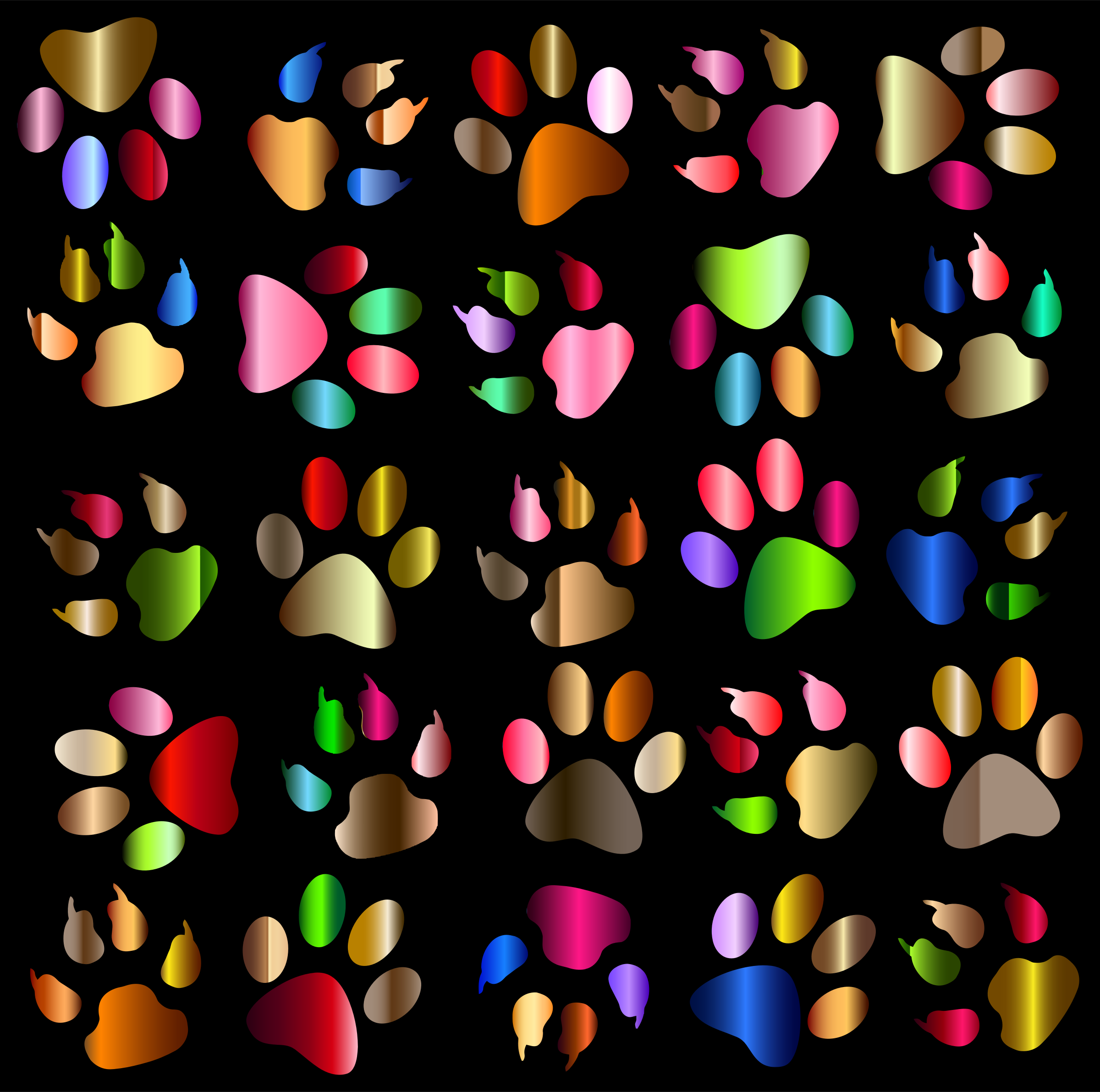 Colorful Paw Prints Pattern Background Reinvigorated by GDJ