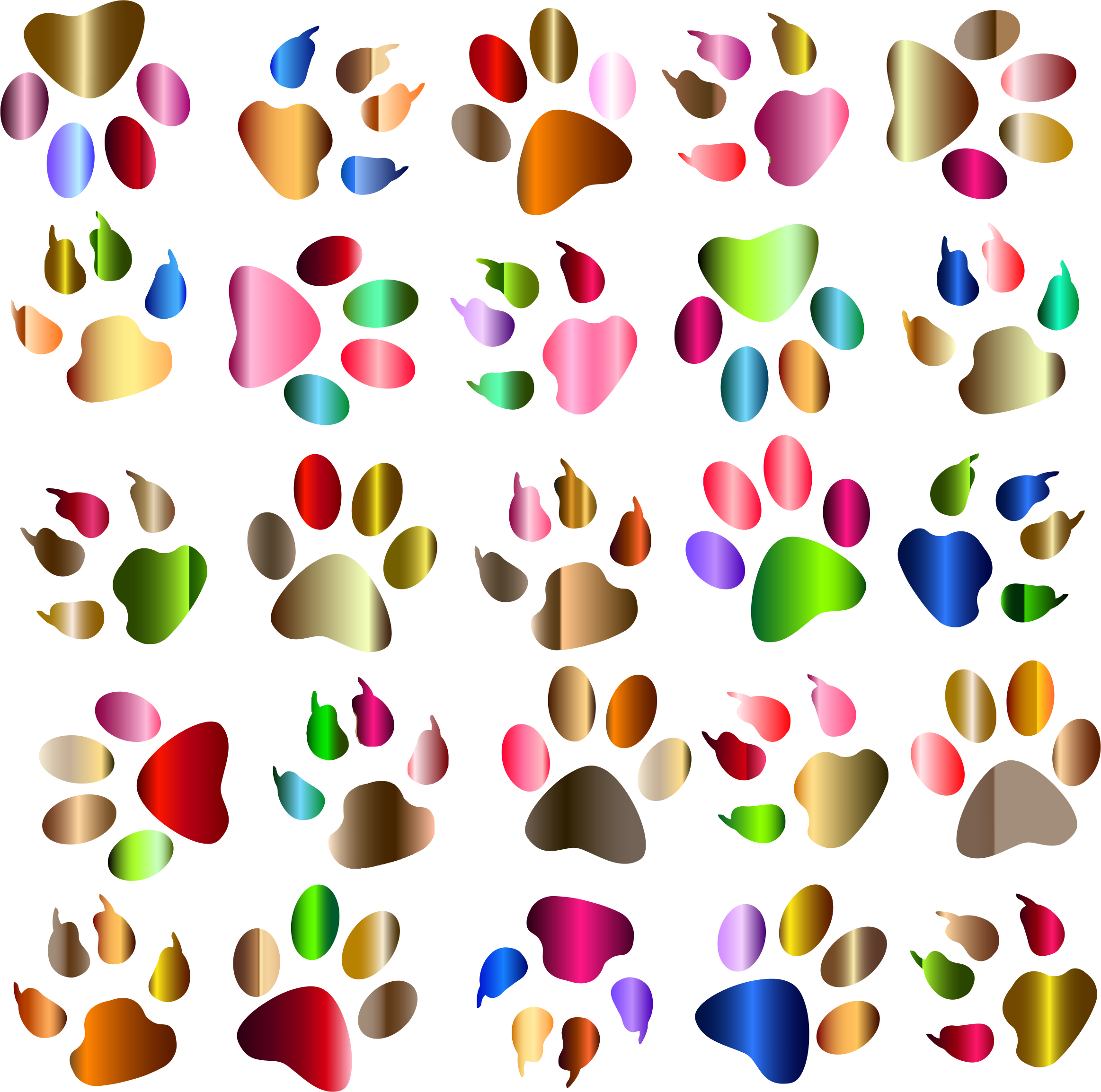 Colorful Paw Prints Pattern Background Reinvigorated No Black background by GDJ