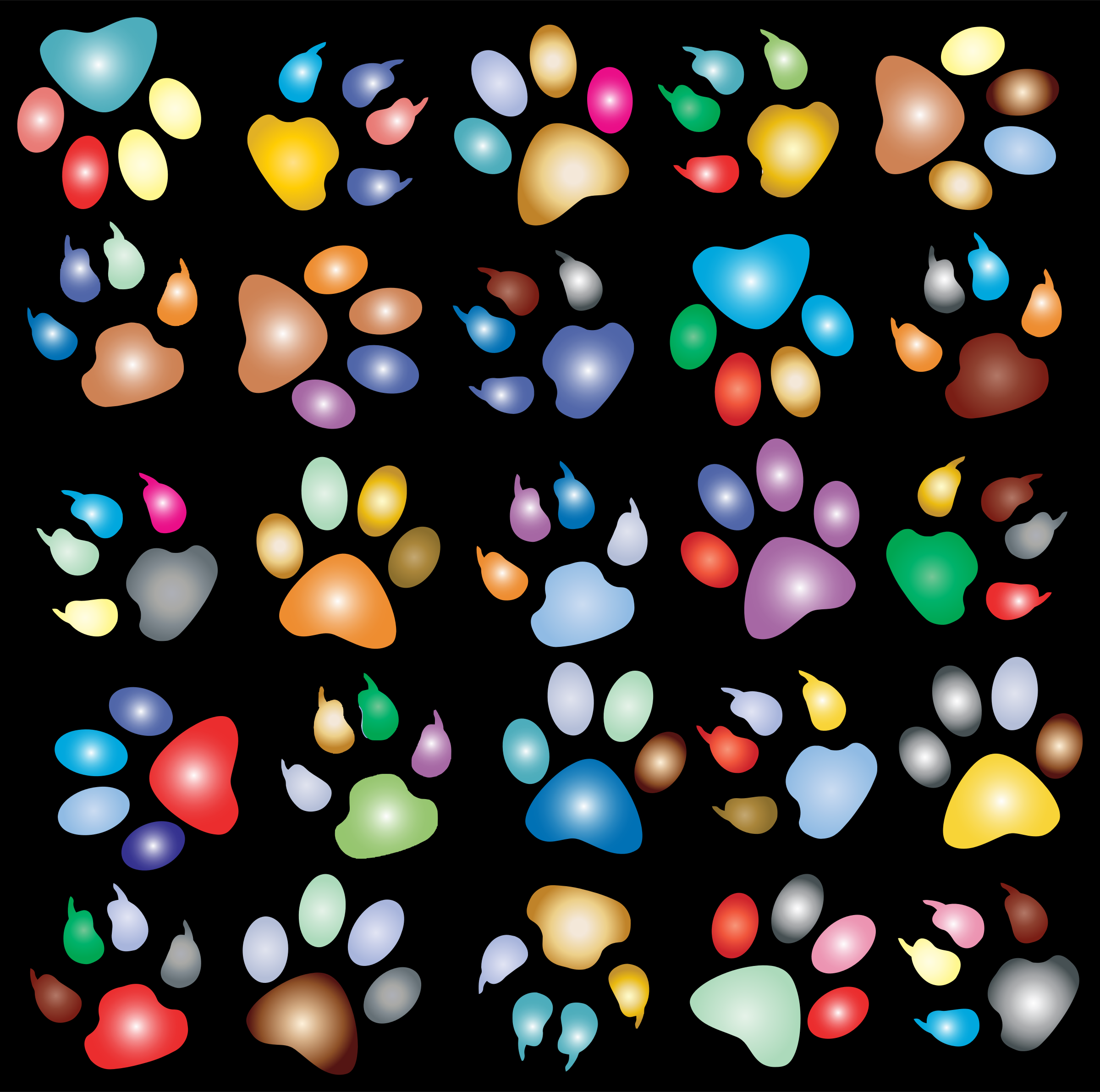 Colorful Paw Prints Pattern Background Reinvigorated 2 by GDJ