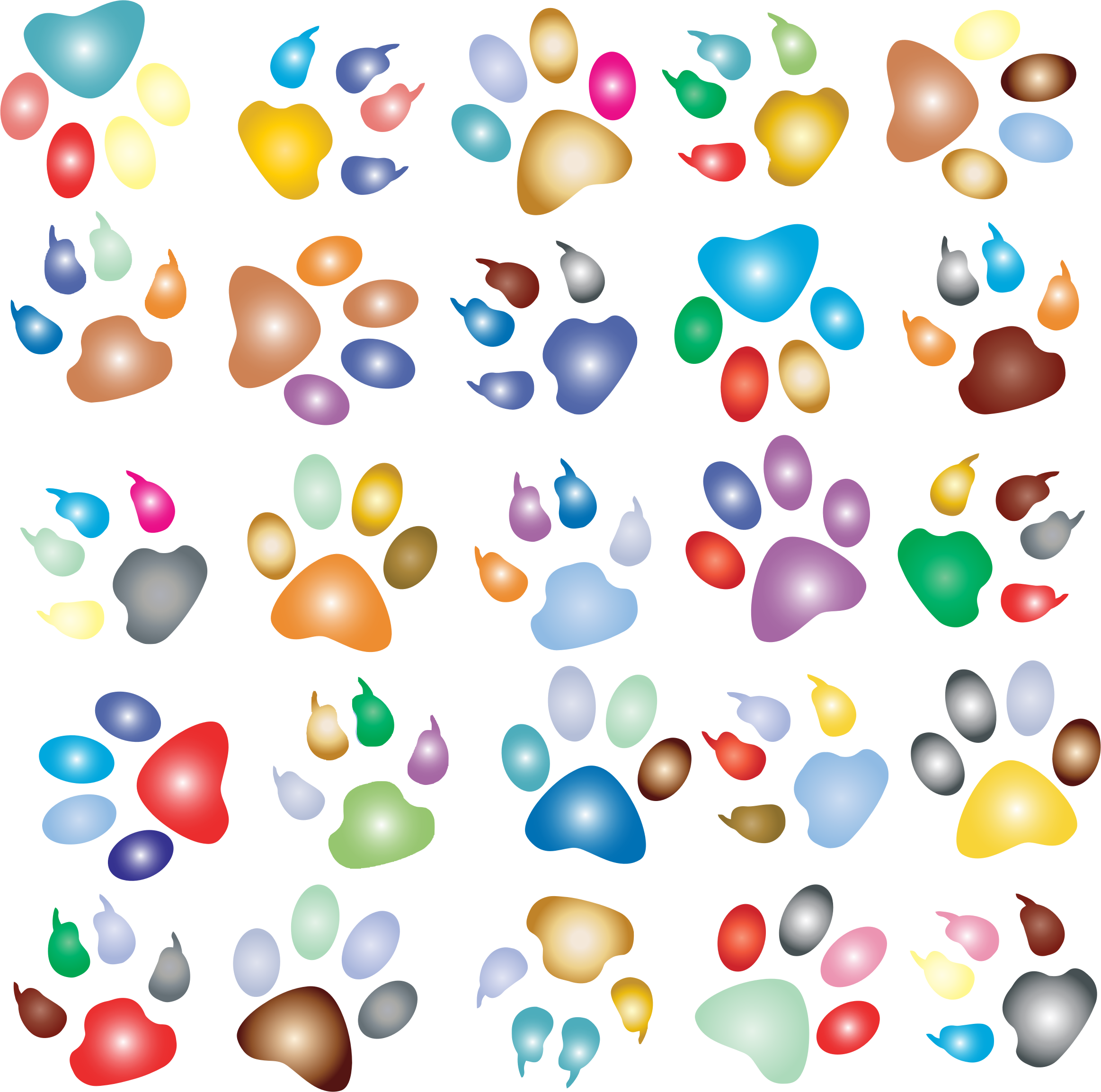 Colorful Paw Prints Pattern Background Reinvigorated 2 No Black background by GDJ