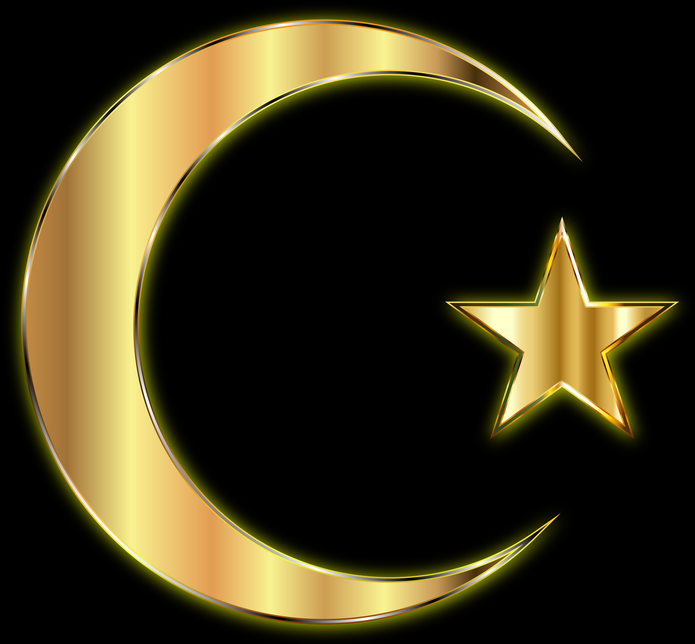 Clipart - Golden Crescent Moon And Star Enhanced